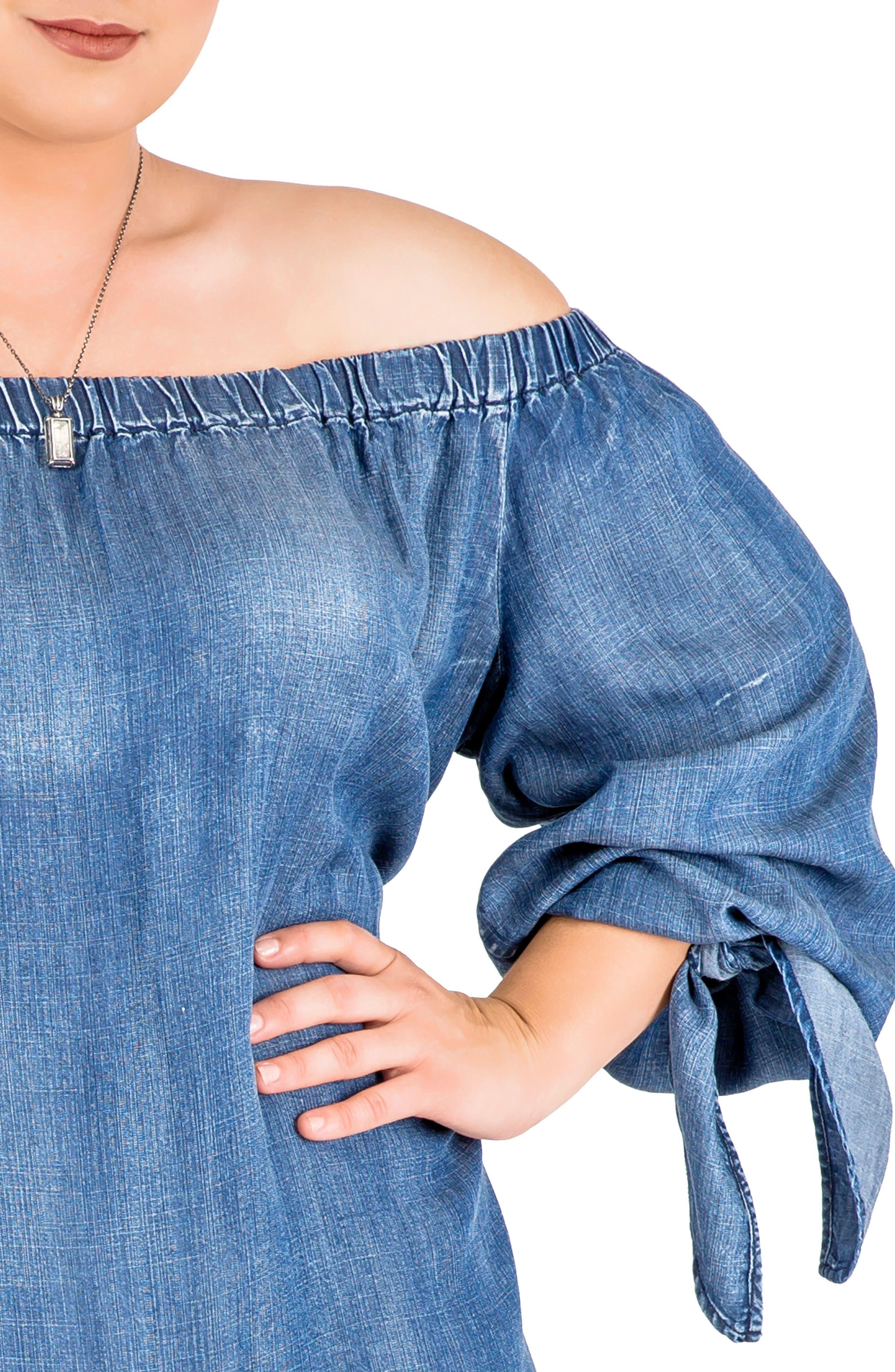 Alternate Image 5  - Standards & Practices Julie Off the Shoulder Denim Dress (Plus Size)