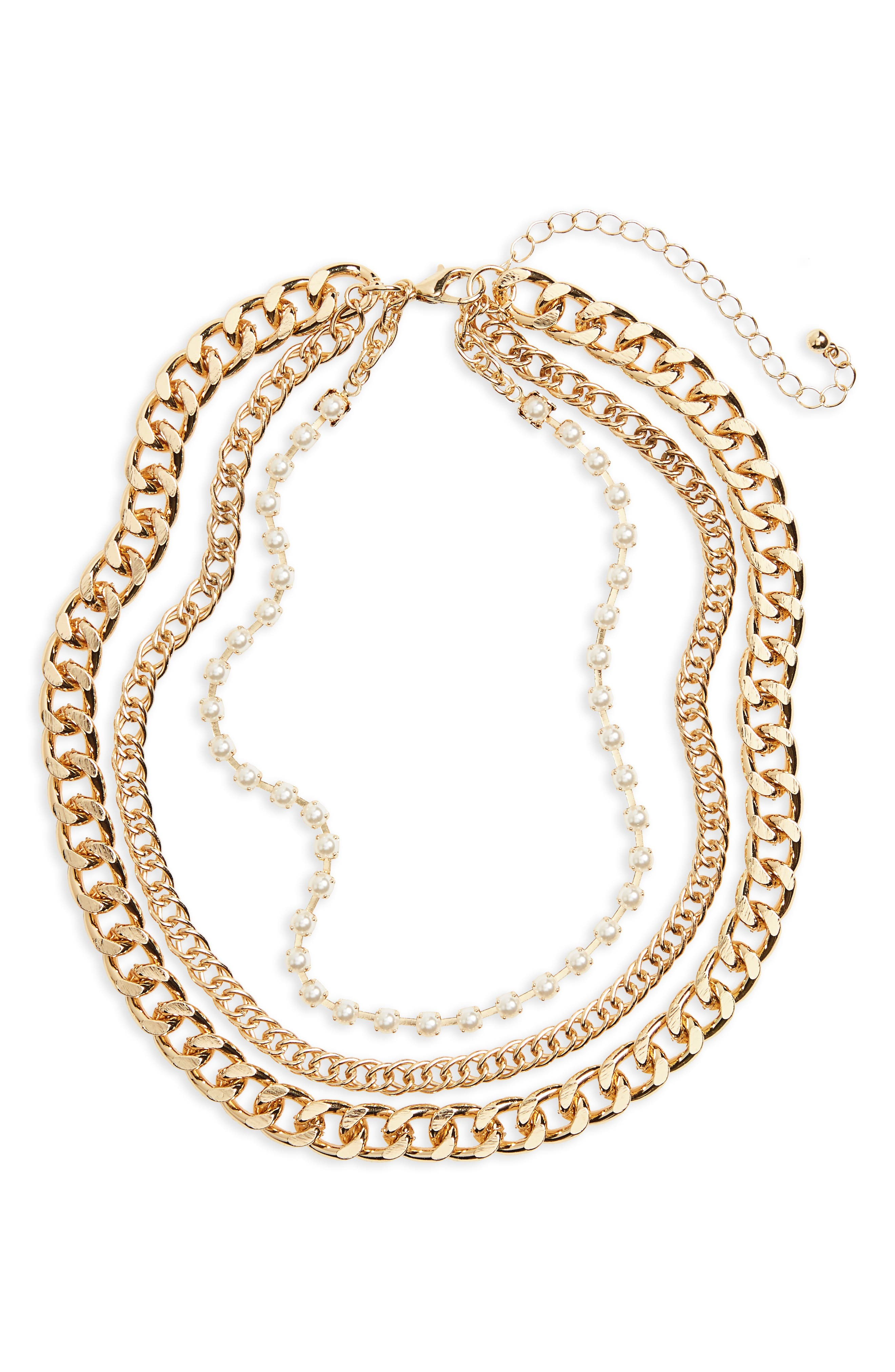 Three-Layer Chain & Faux Pearl Necklace,                         Main,                         color, Gold/ Pearl