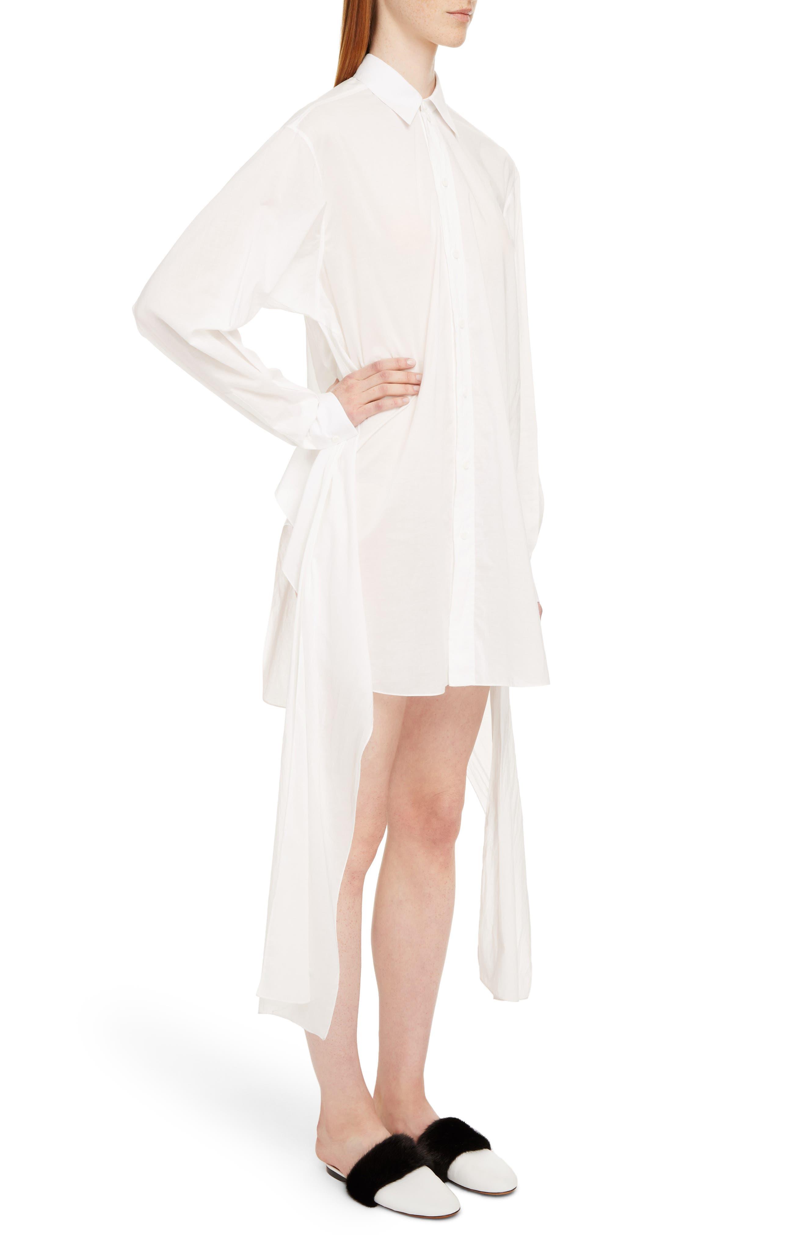 Tie Waist Poplin Shirtdress,                             Alternate thumbnail 3, color,                             White