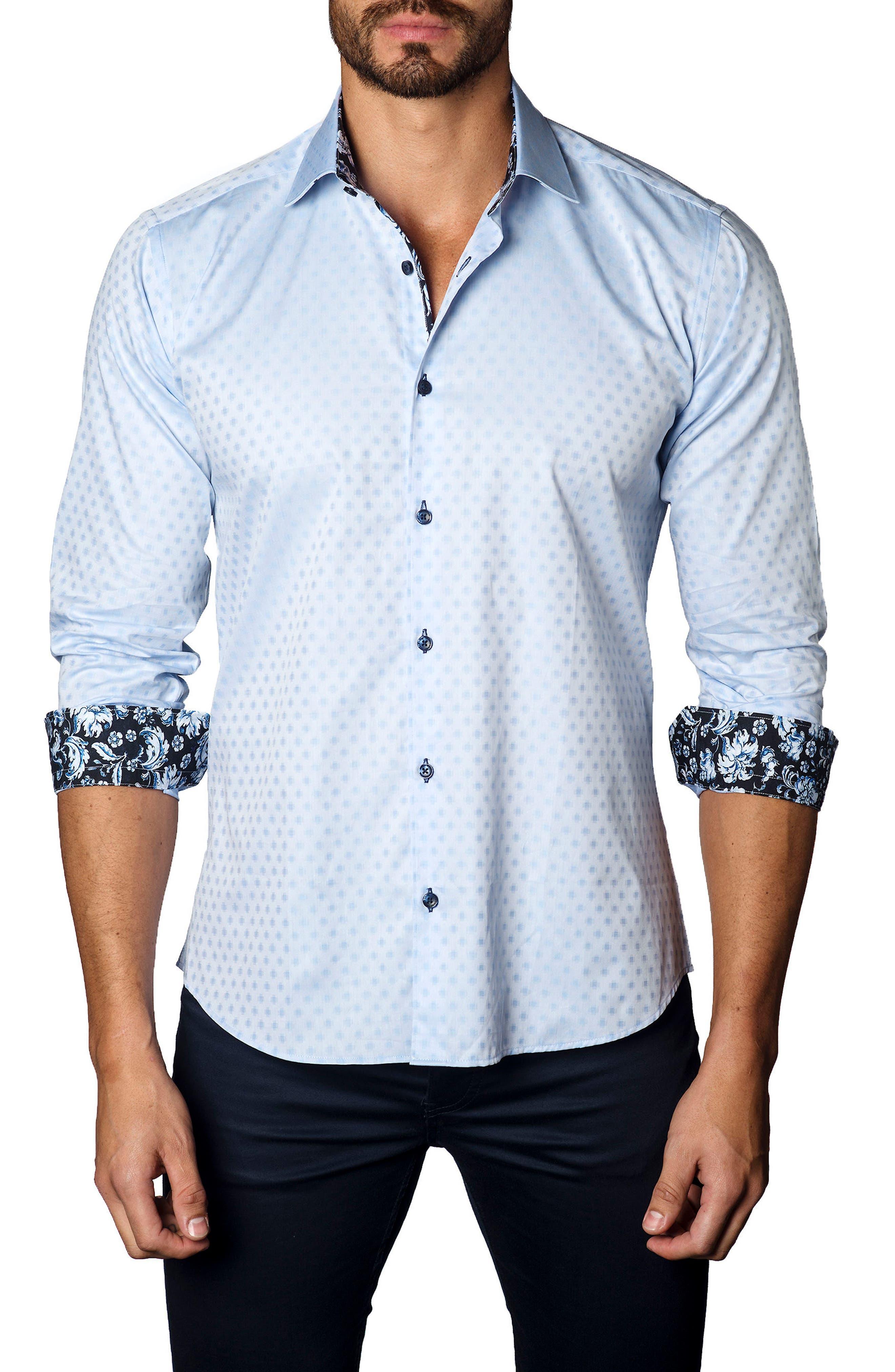 Trim Fit Dot Print Sport Shirt,                             Main thumbnail 1, color,                             Baby Blue