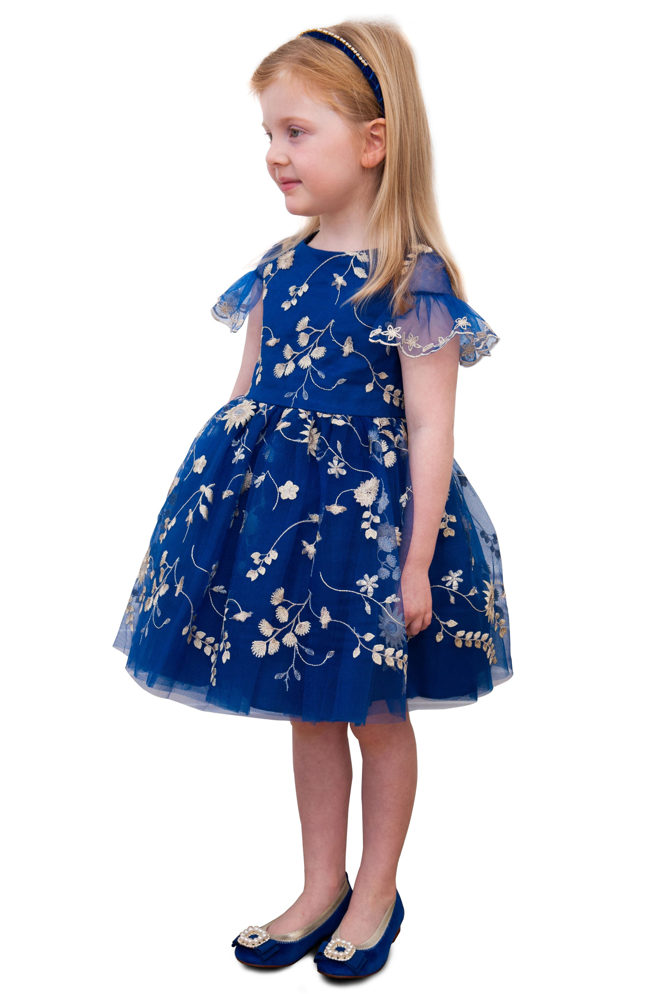 Floral Embroidery Dress,                             Alternate thumbnail 2, color,                             Royal Blue/ Gold