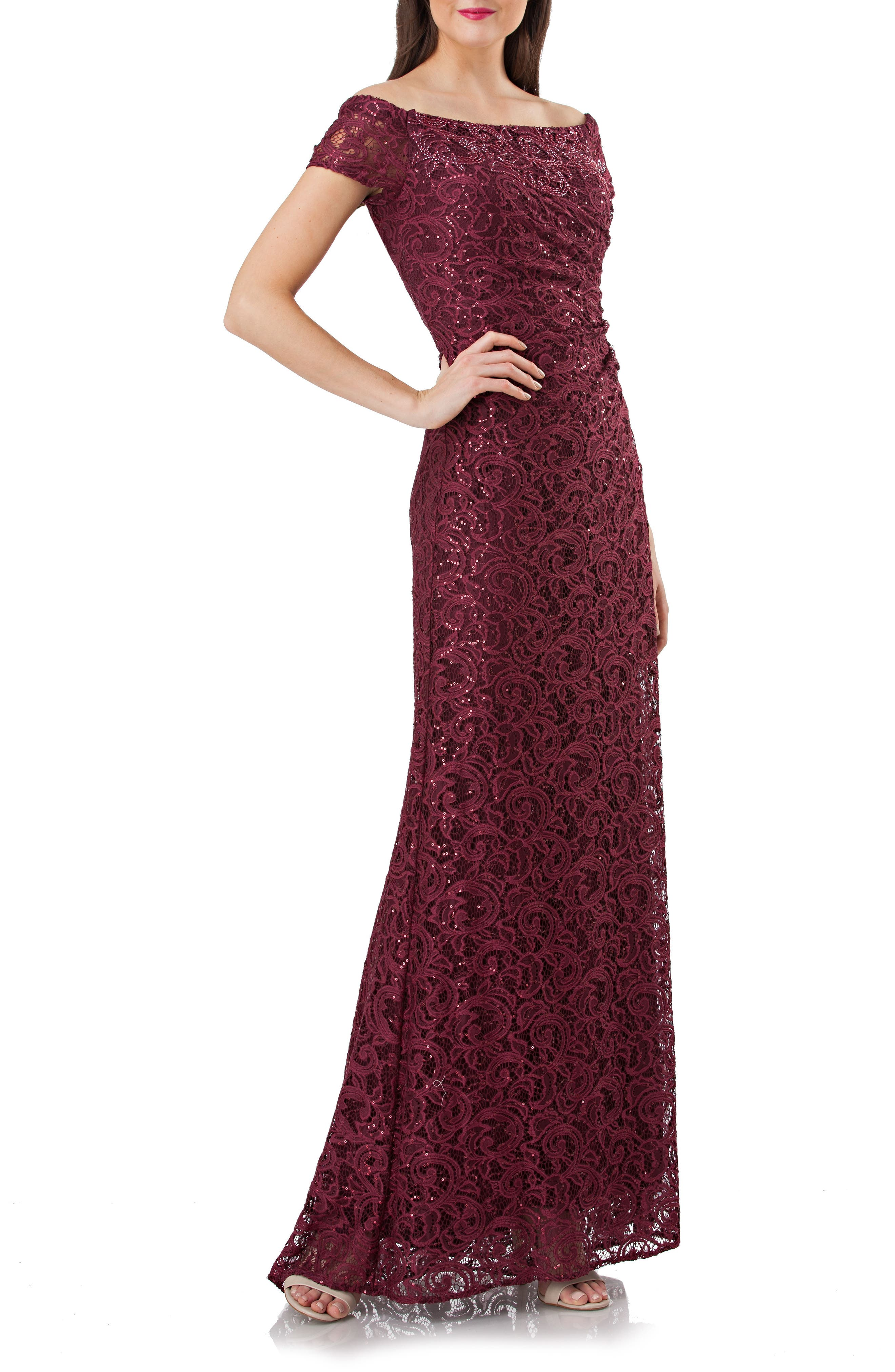 Sequin Lace Off the Shoulder Mermaid Gown,                             Main thumbnail 1, color,                             Burgundy