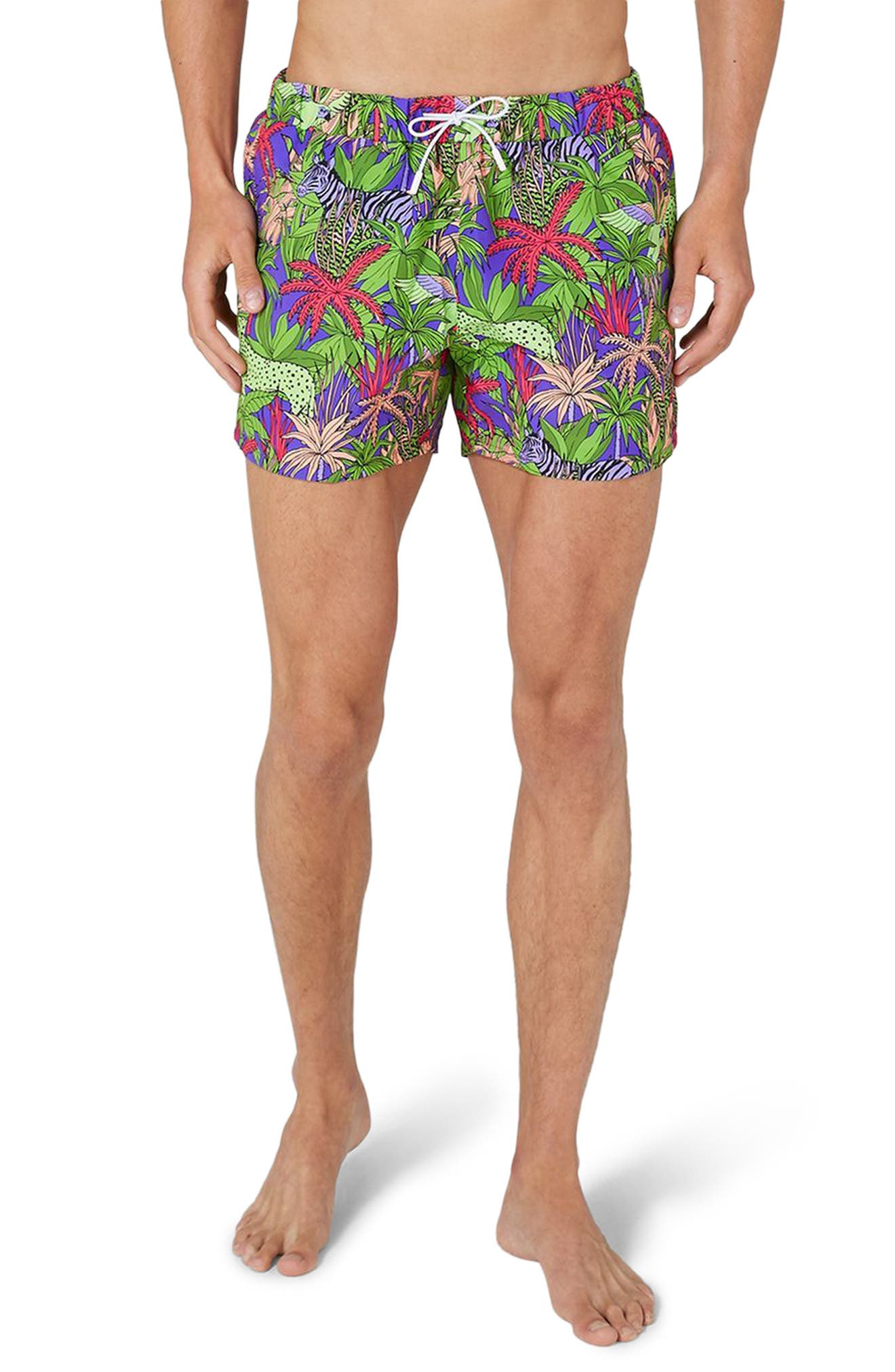 Topman Jungle Print Swim Trunks