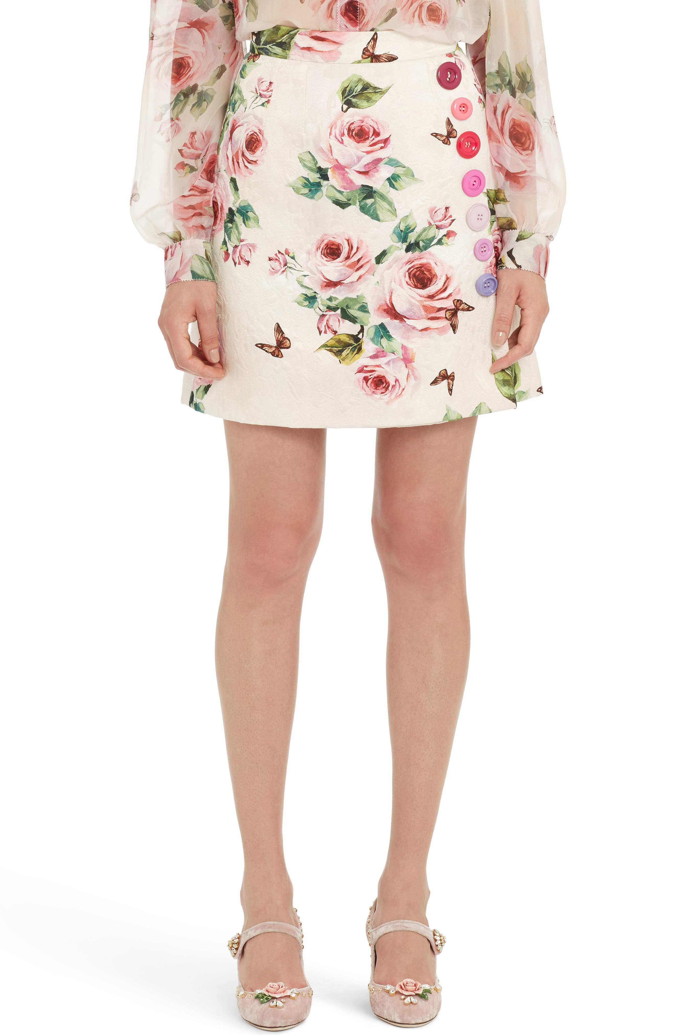 Dolce&Gabbana Button Embellished Floral Skirt