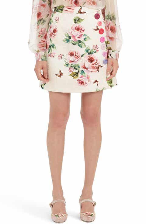 Dolce&Gabbana Button Embellished Floral Skirt