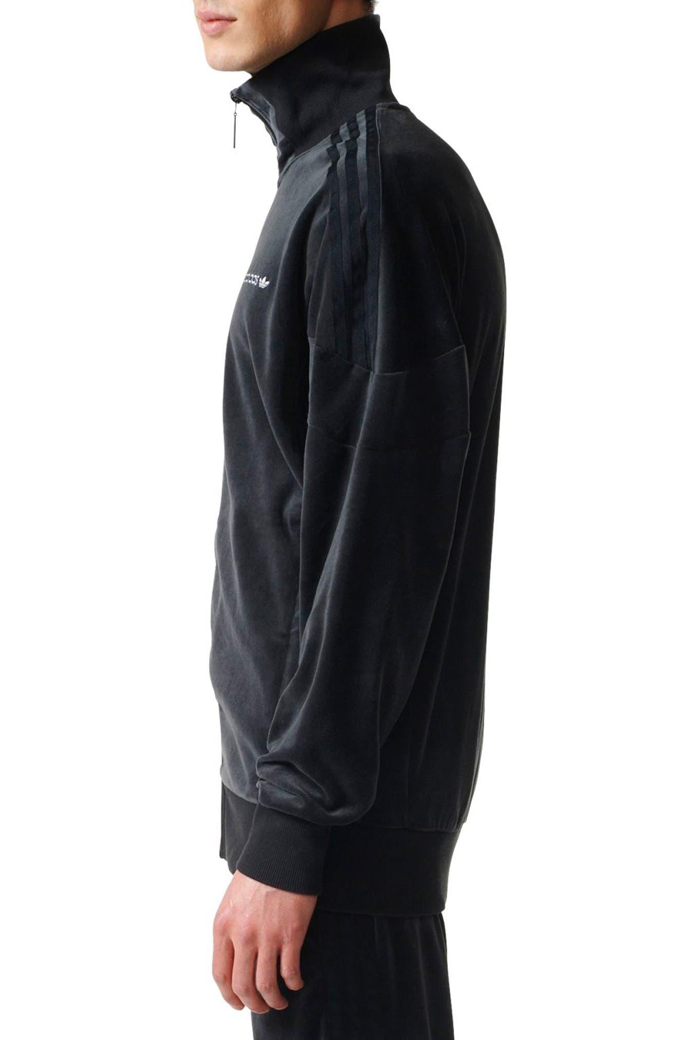 Velour Track Jacket,                             Alternate thumbnail 3, color,                             Black
