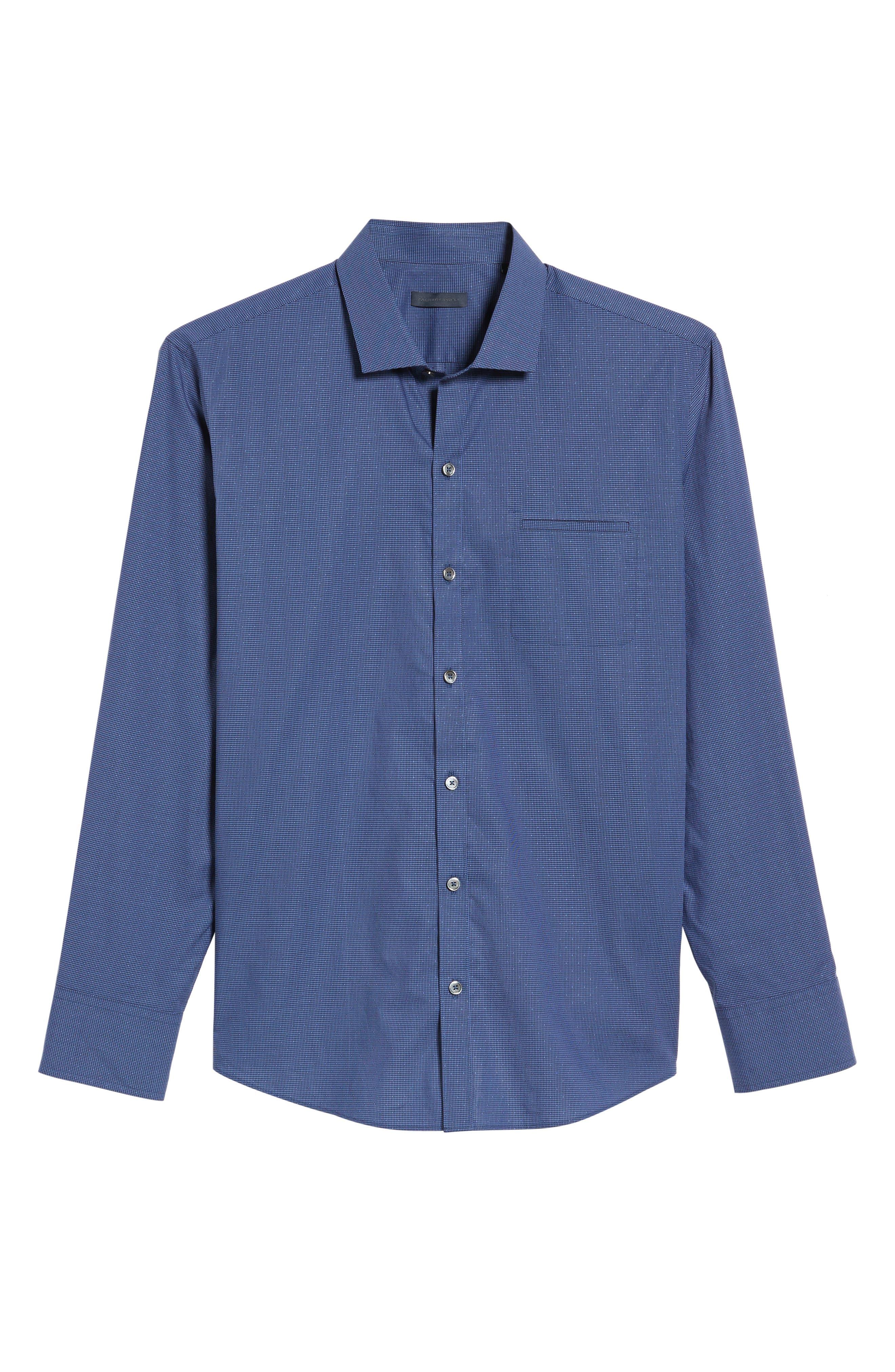 Galileo Dobby Microcheck Sport Shirt,                             Alternate thumbnail 6, color,                             Navy