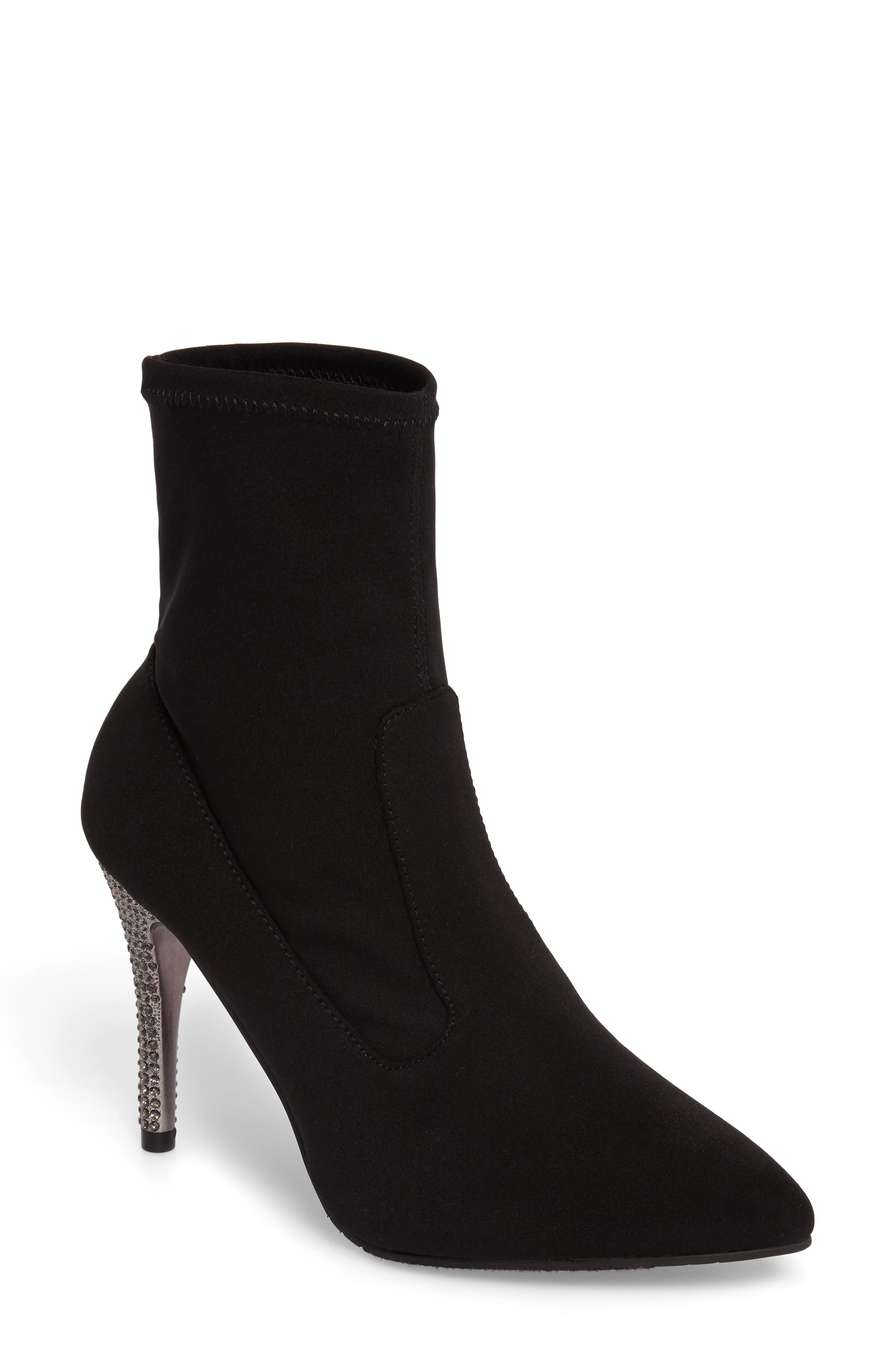 Roxie Bootie,                         Main,                         color, Black Fabric