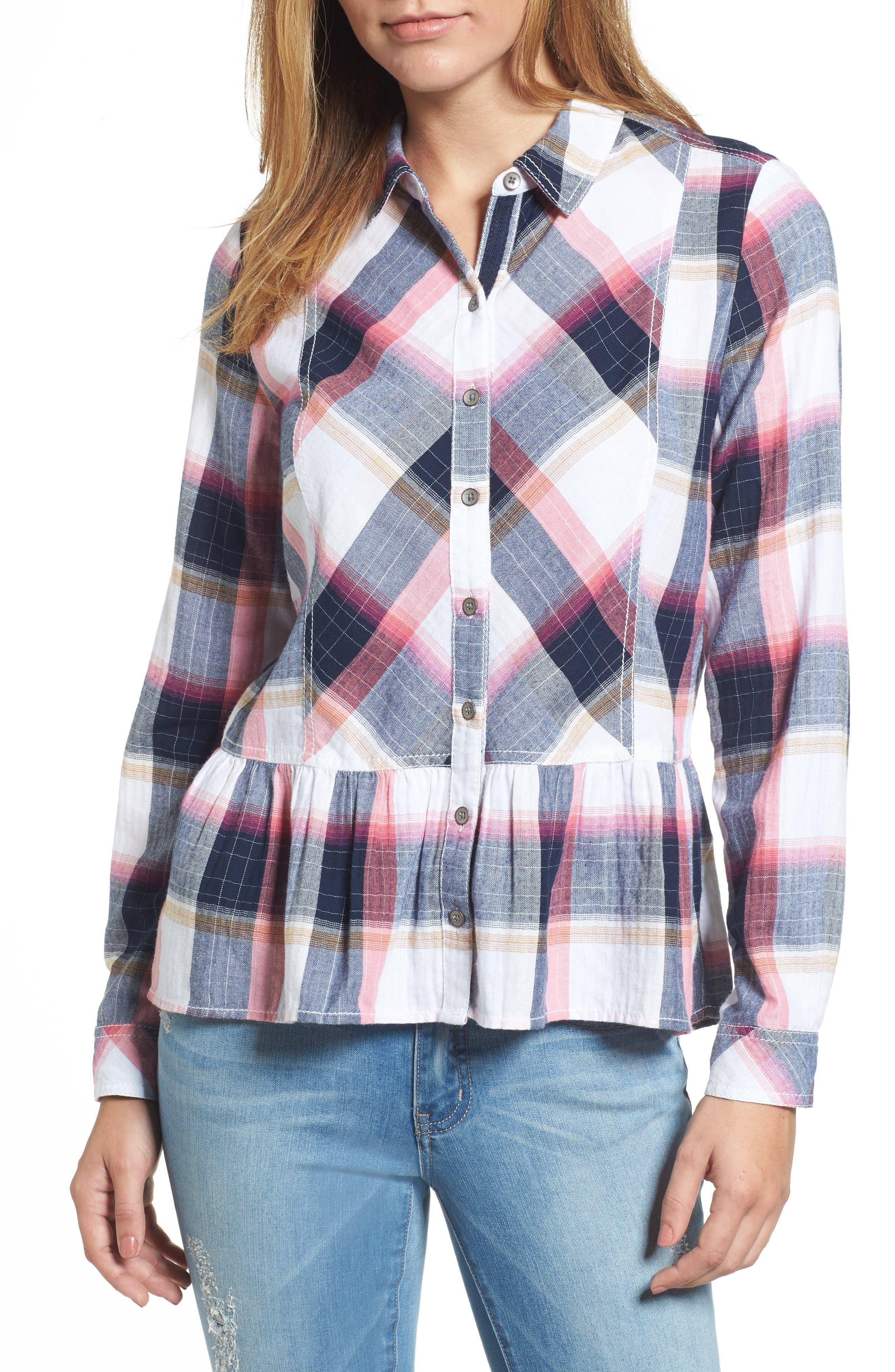 Peplum Plaid Shirt,                         Main,                         color, Navy- Rose Plaid