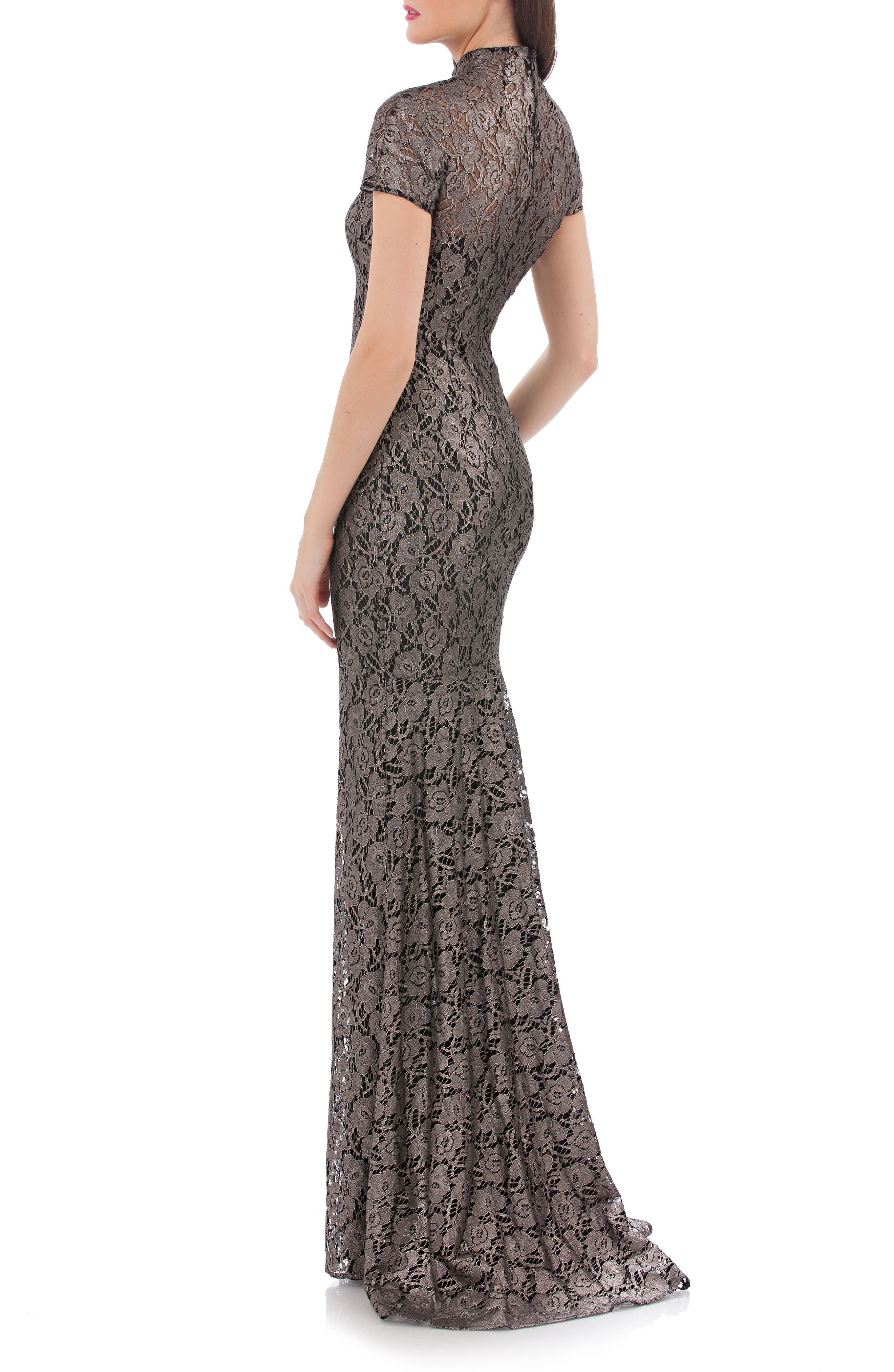 Alternate Image 2  - Carmen Marc Valvo Infusion Mock Neck Lace Gown