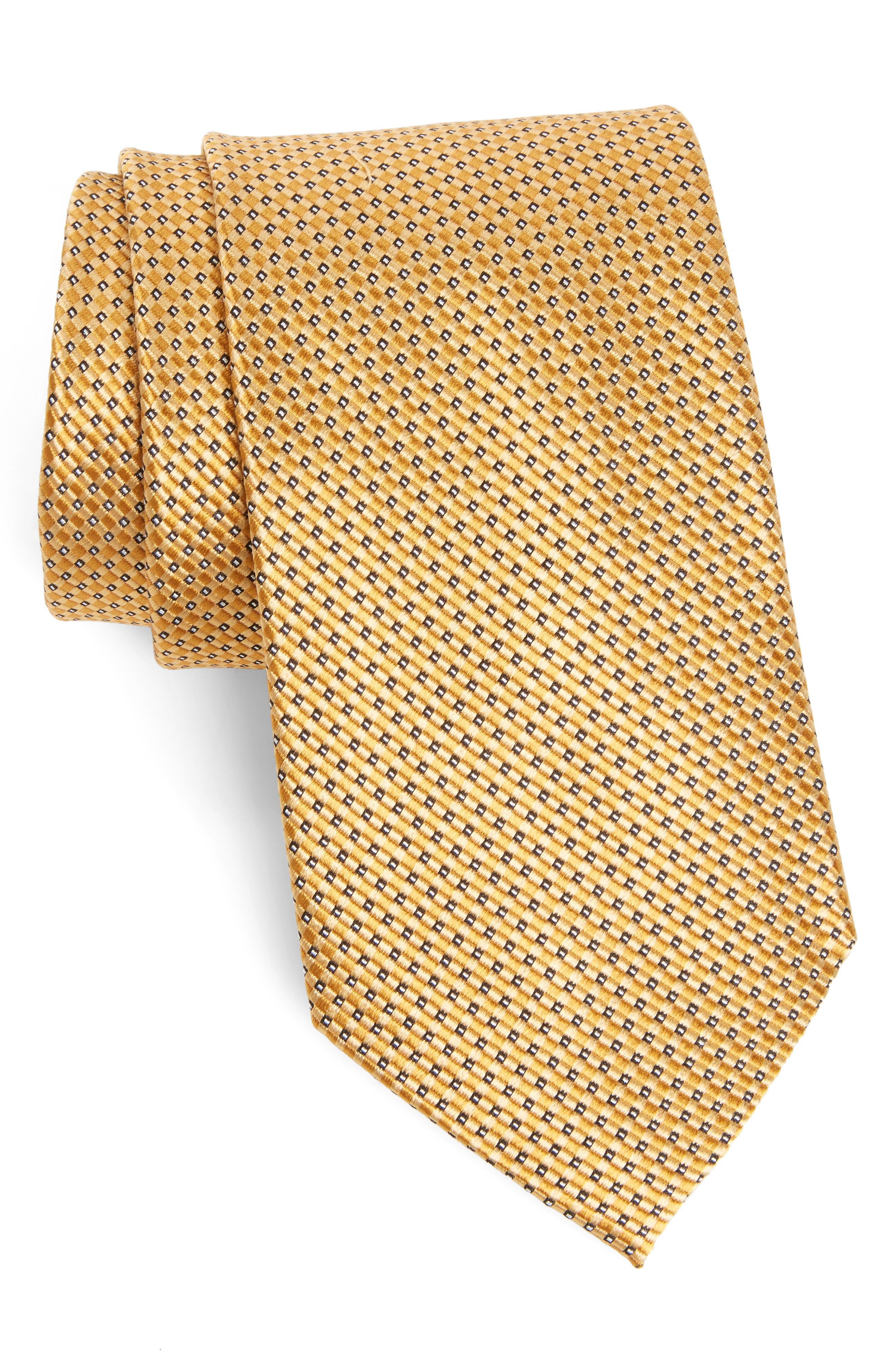 Microgrid Silk Tie,                         Main,                         color, Gold