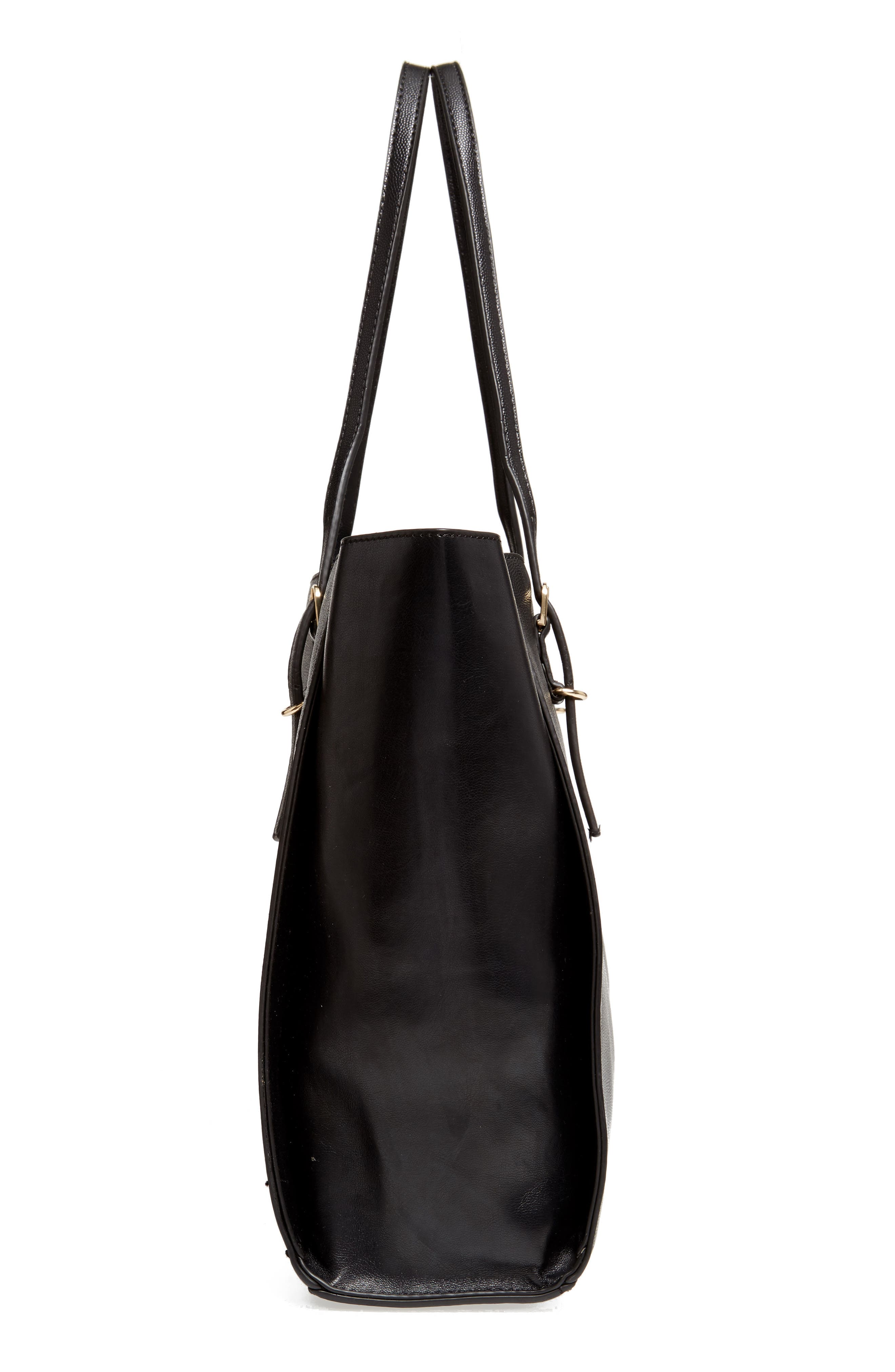 Alternate Image 4  - Street Level Faux Leather Buckle Tote
