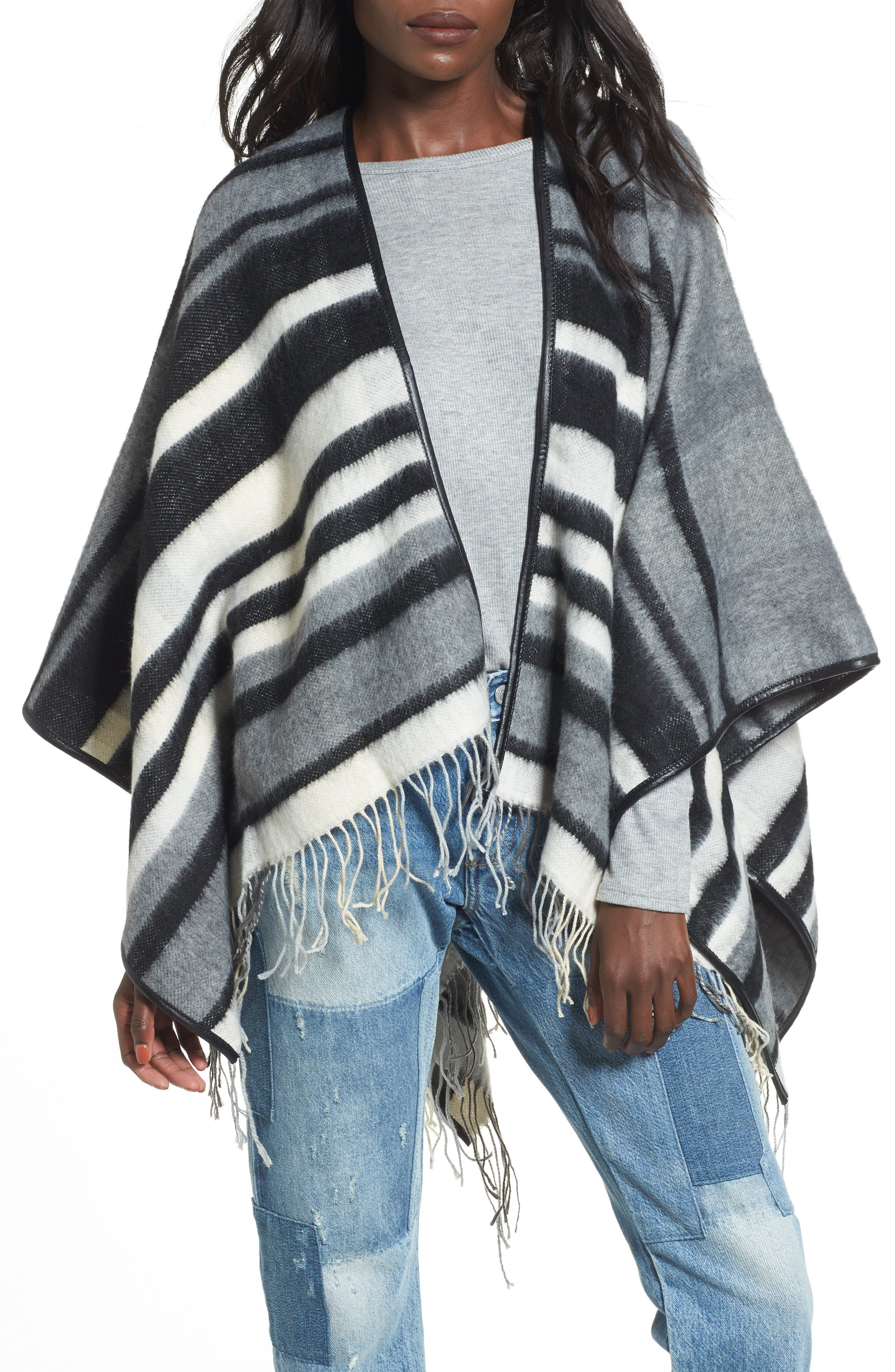 Alternate Image 1 Selected - Accessory Collective Stripe Ruana
