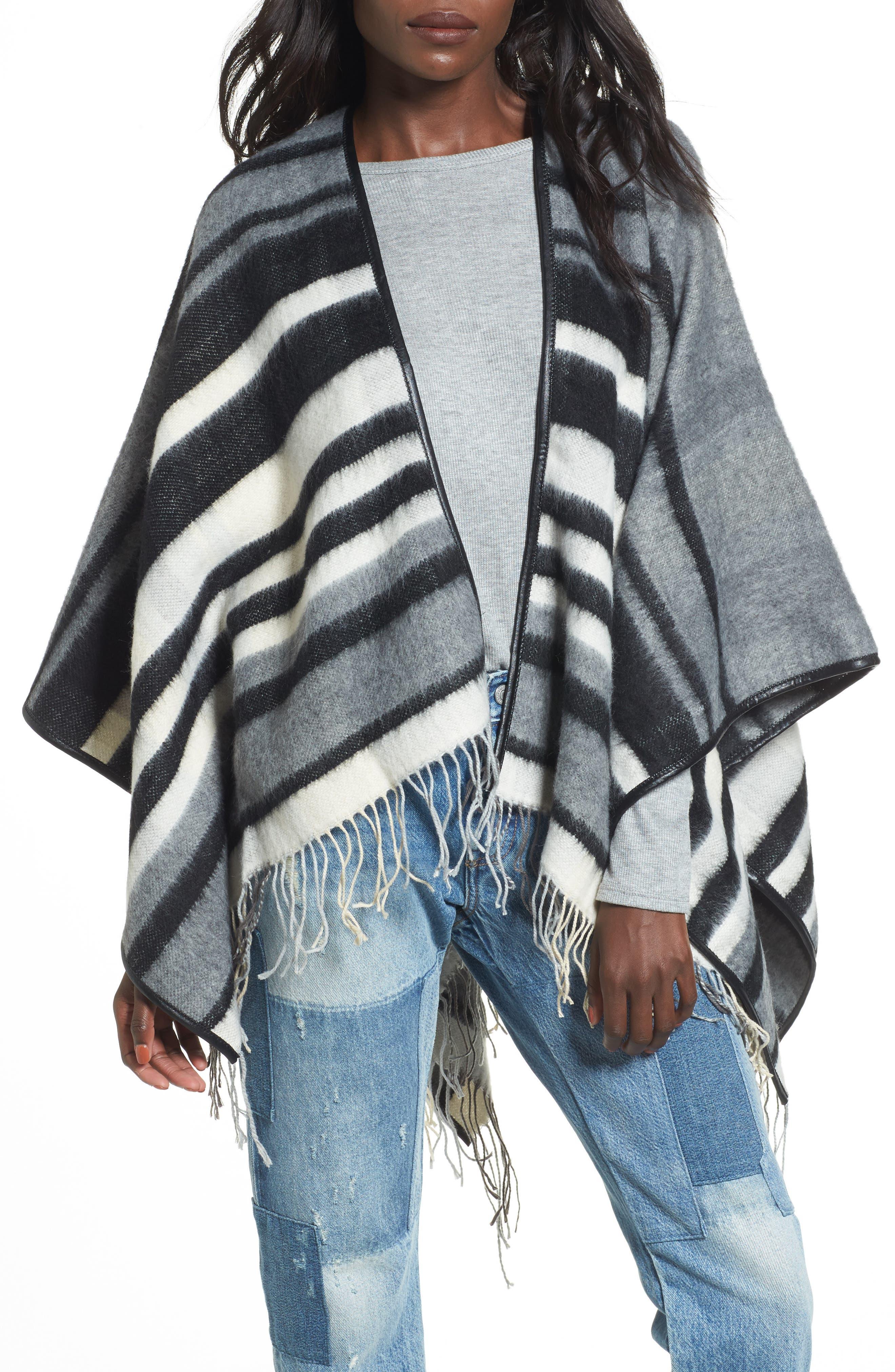 Accessory Collective Stripe Ruana,                         Main,                         color, Black/ Grey