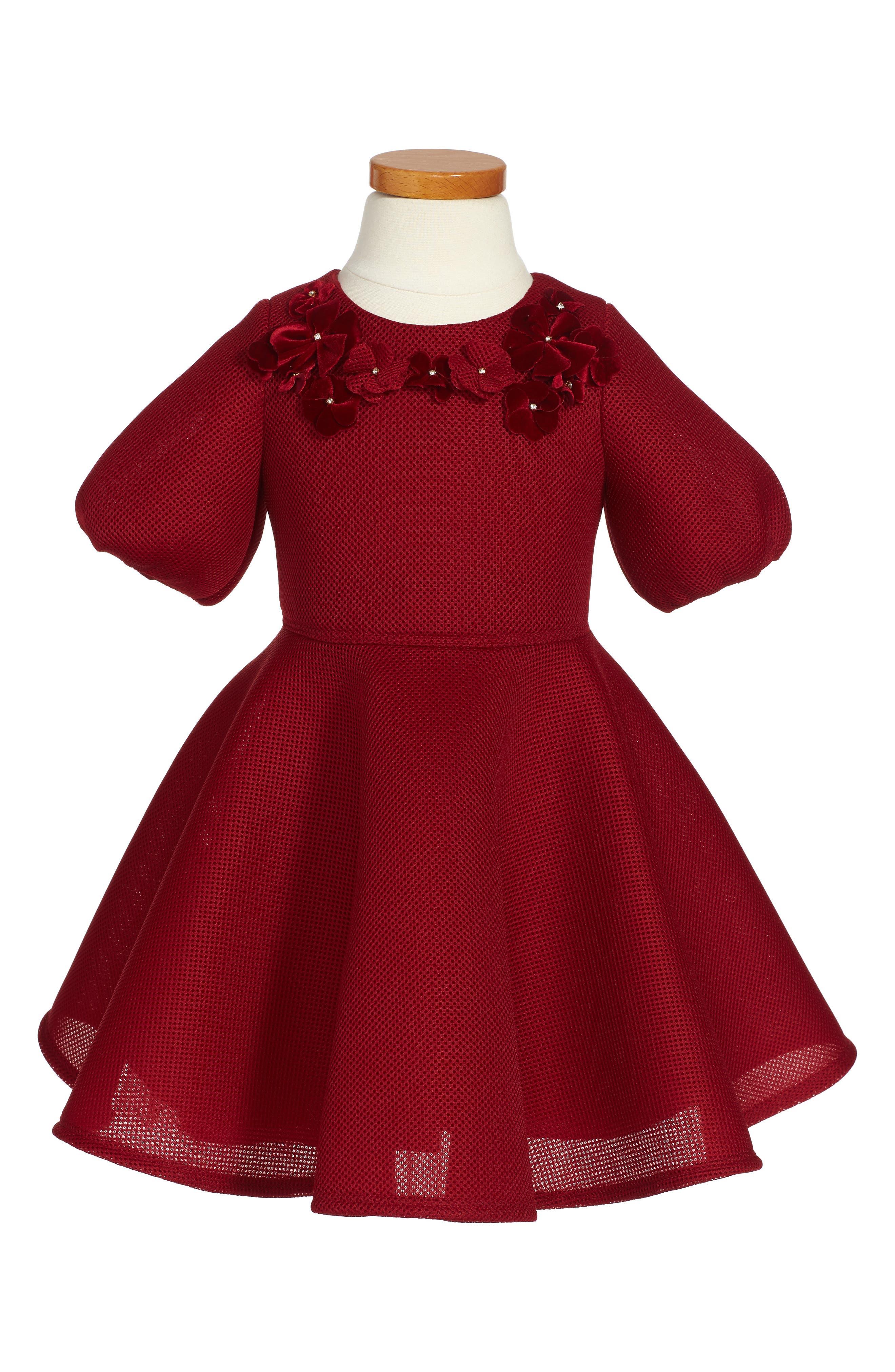 Main Image - David Charles Techno Scuba Mesh Dress (Toddler Girls & Little Girls)