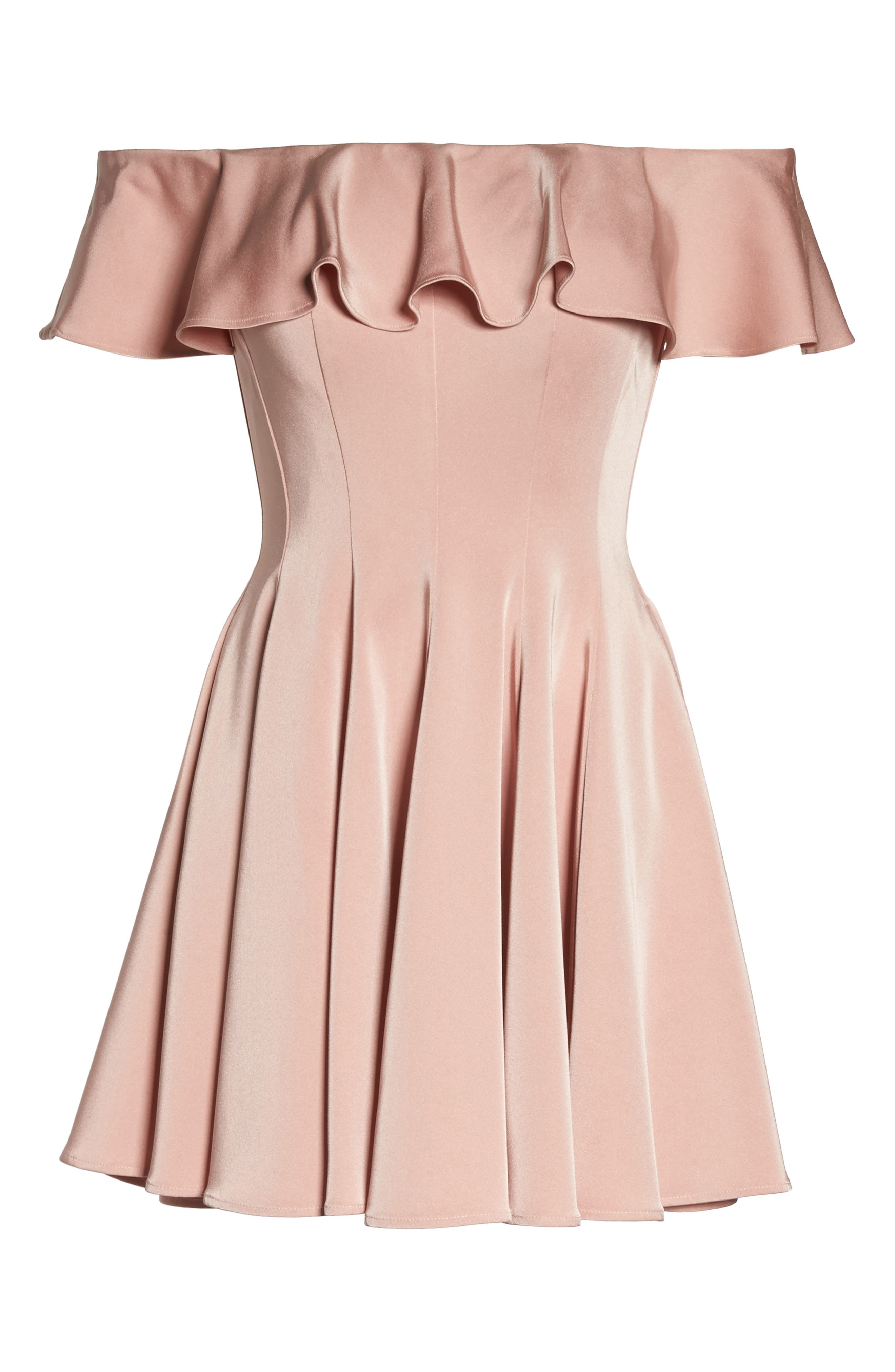 Ruffle Off the Shoulder Fit & Flare Dress,                             Alternate thumbnail 6, color,                             Blush