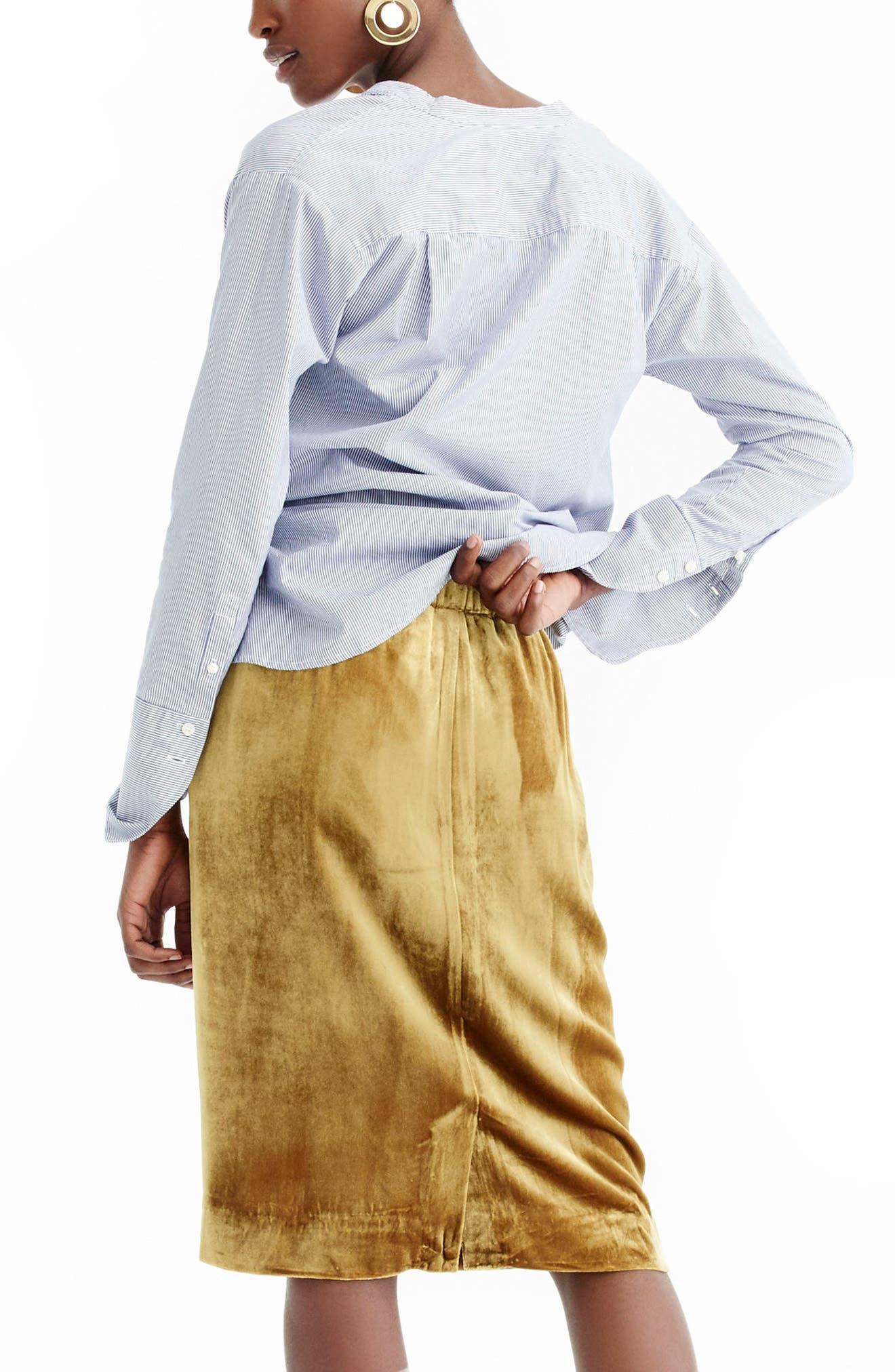 Alternate Image 2  - J.Crew Pull-On Velvet Skirt (Regular & Petite)