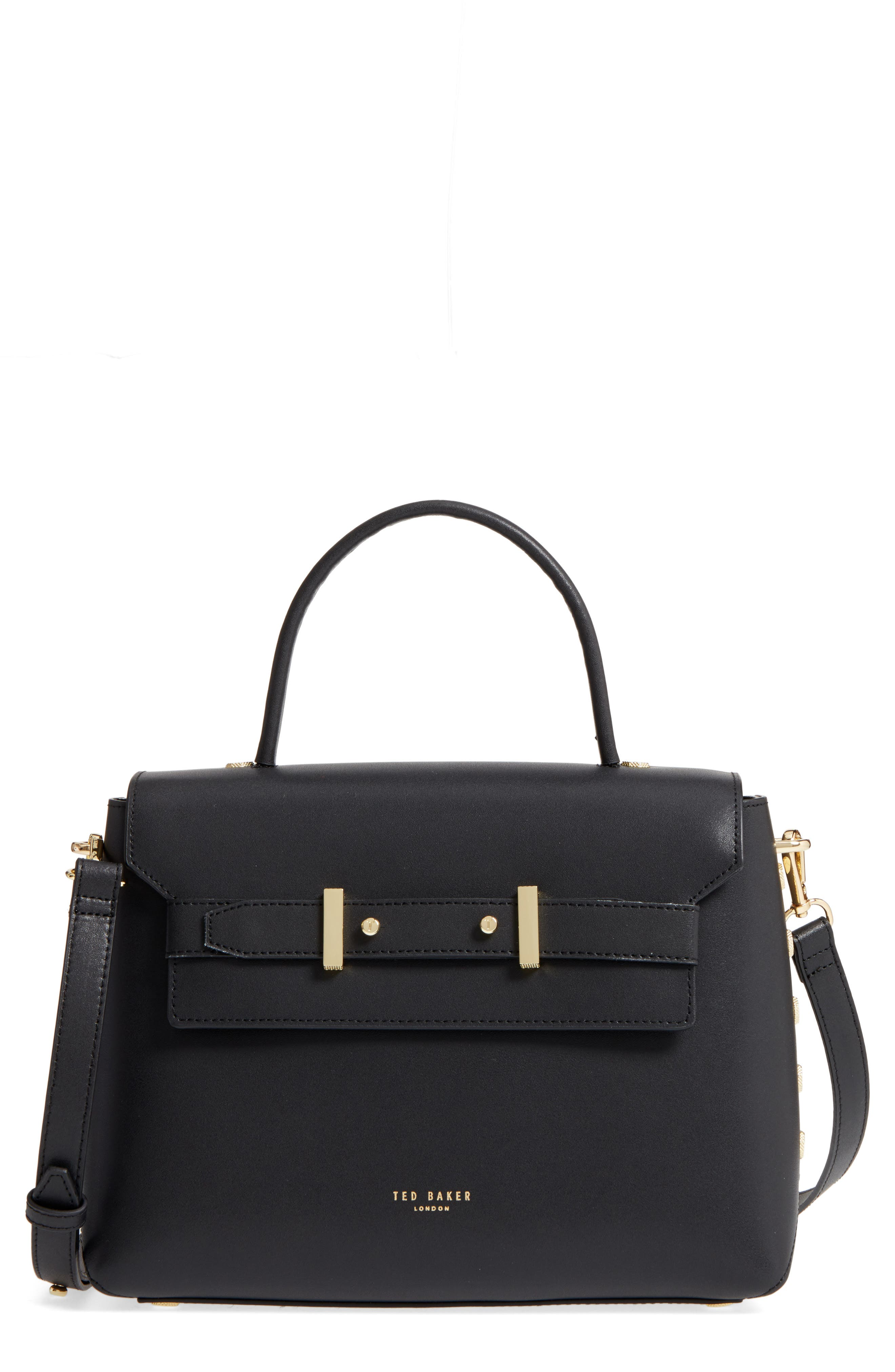 Taymar - Studded Edge Lady Bag Leather Top Handle Satchel,                             Main thumbnail 1, color,                             Black