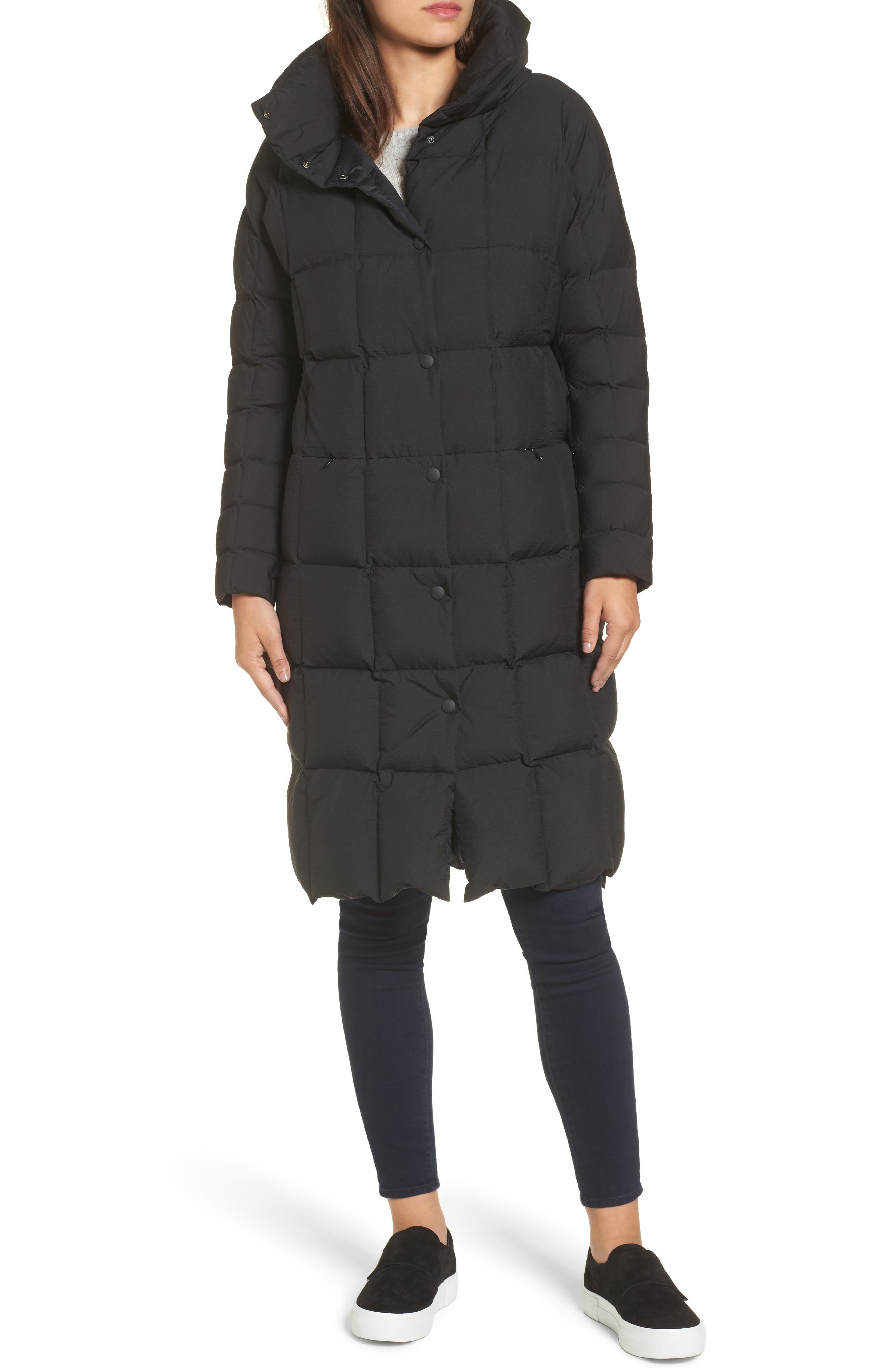 Carley Packable Long Coat,                             Alternate thumbnail 4, color,                             Black