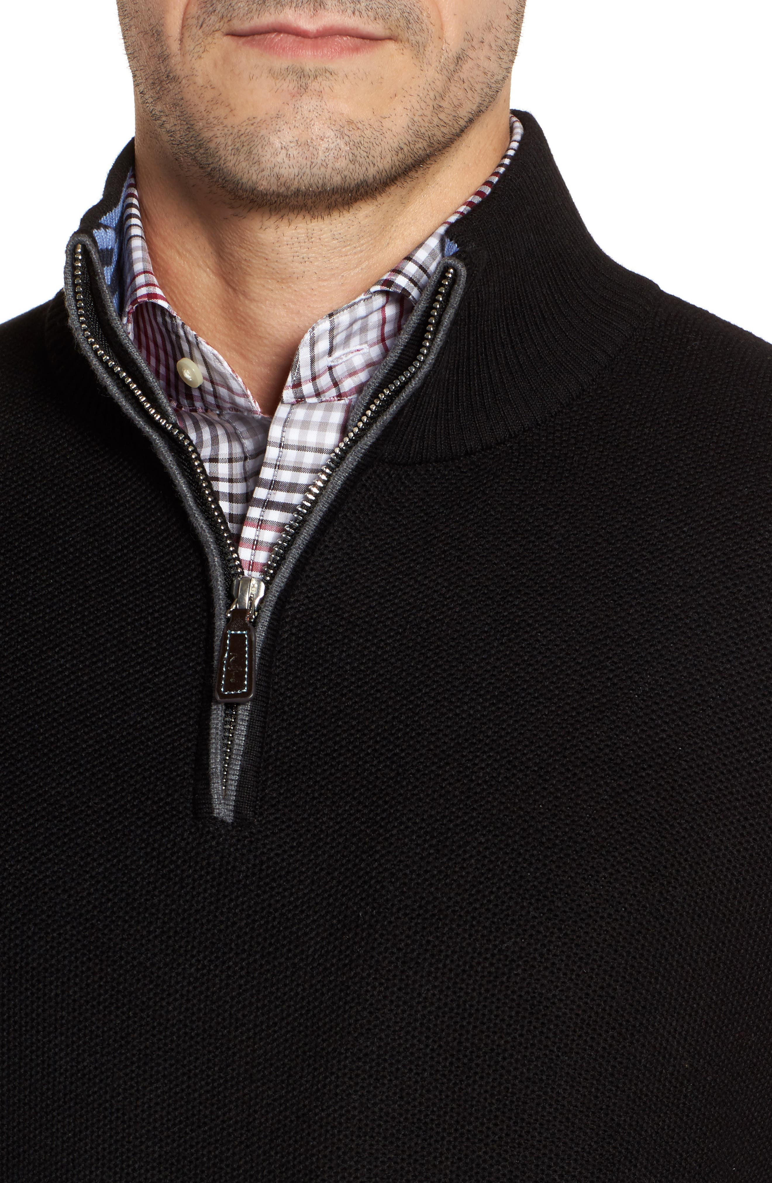 Alternate Image 4  - TailorByrd Lafitte Tipped Quarter Zip Sweater