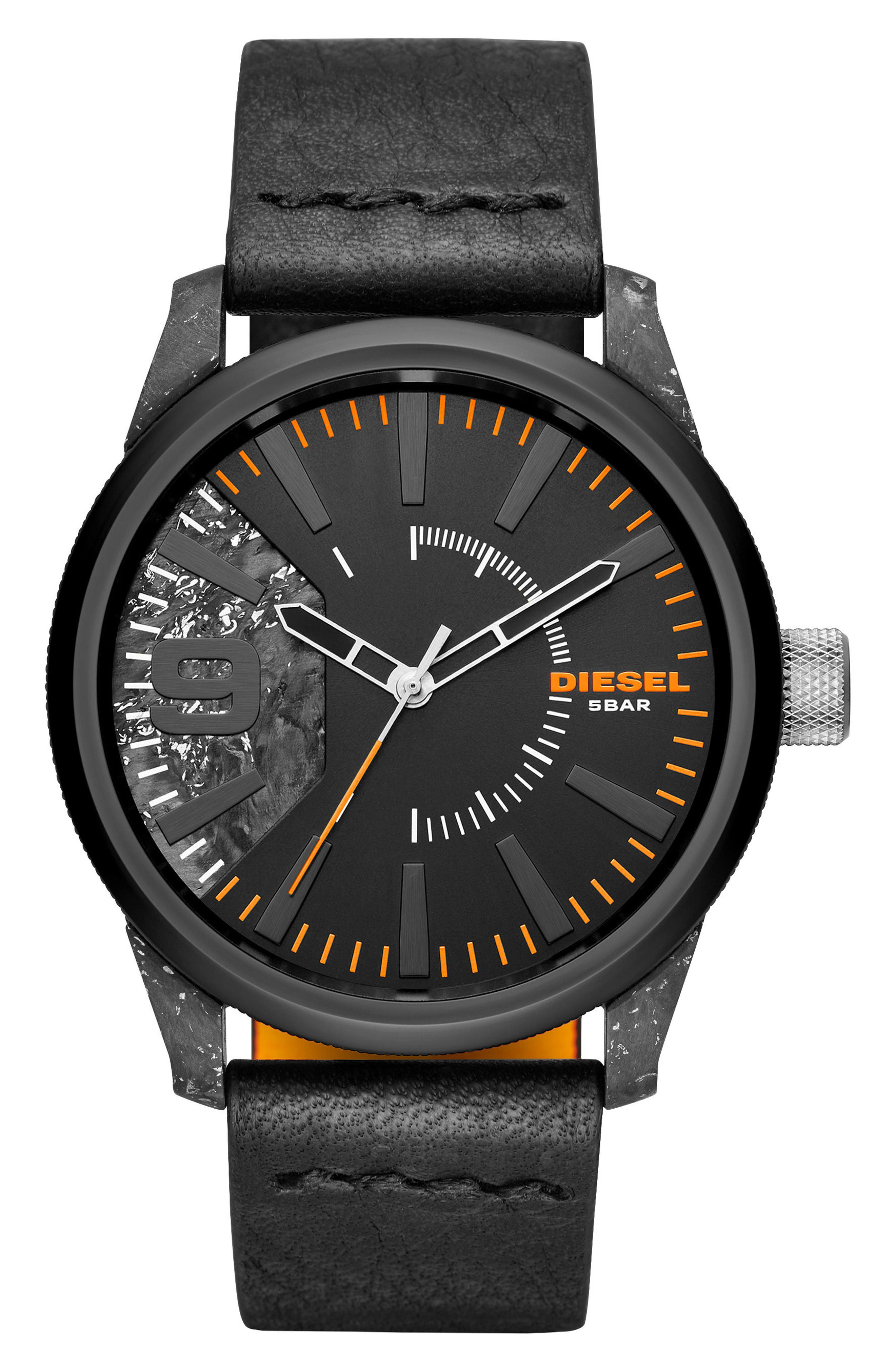 Rasp Leather Strap Watch, 46mm x 53mm,                         Main,                         color, Ip Black/ Carbon