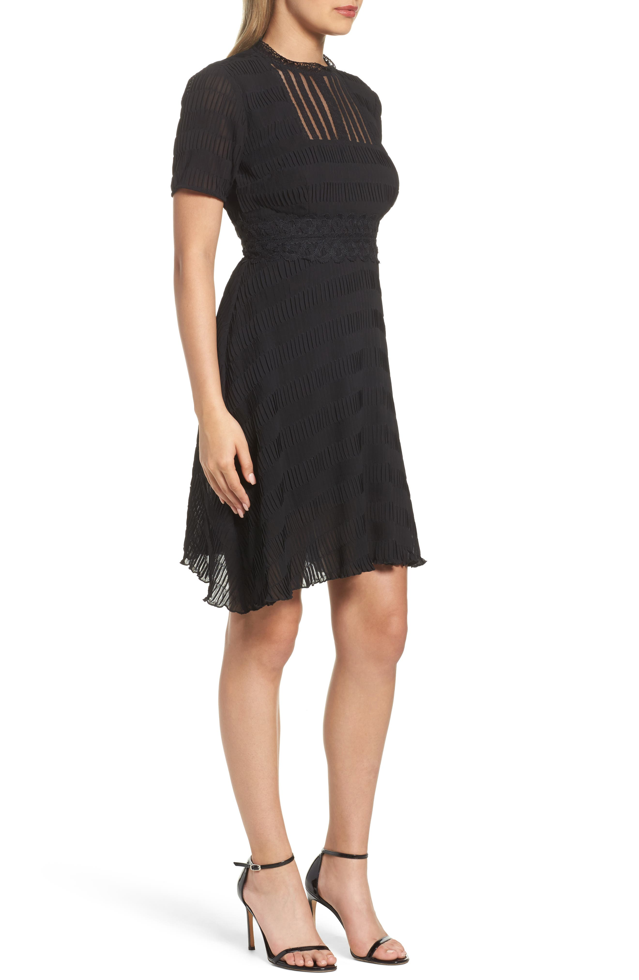Isadora Lace Trim Pintuck Fit & Flare Dress,                             Alternate thumbnail 3, color,                             Black