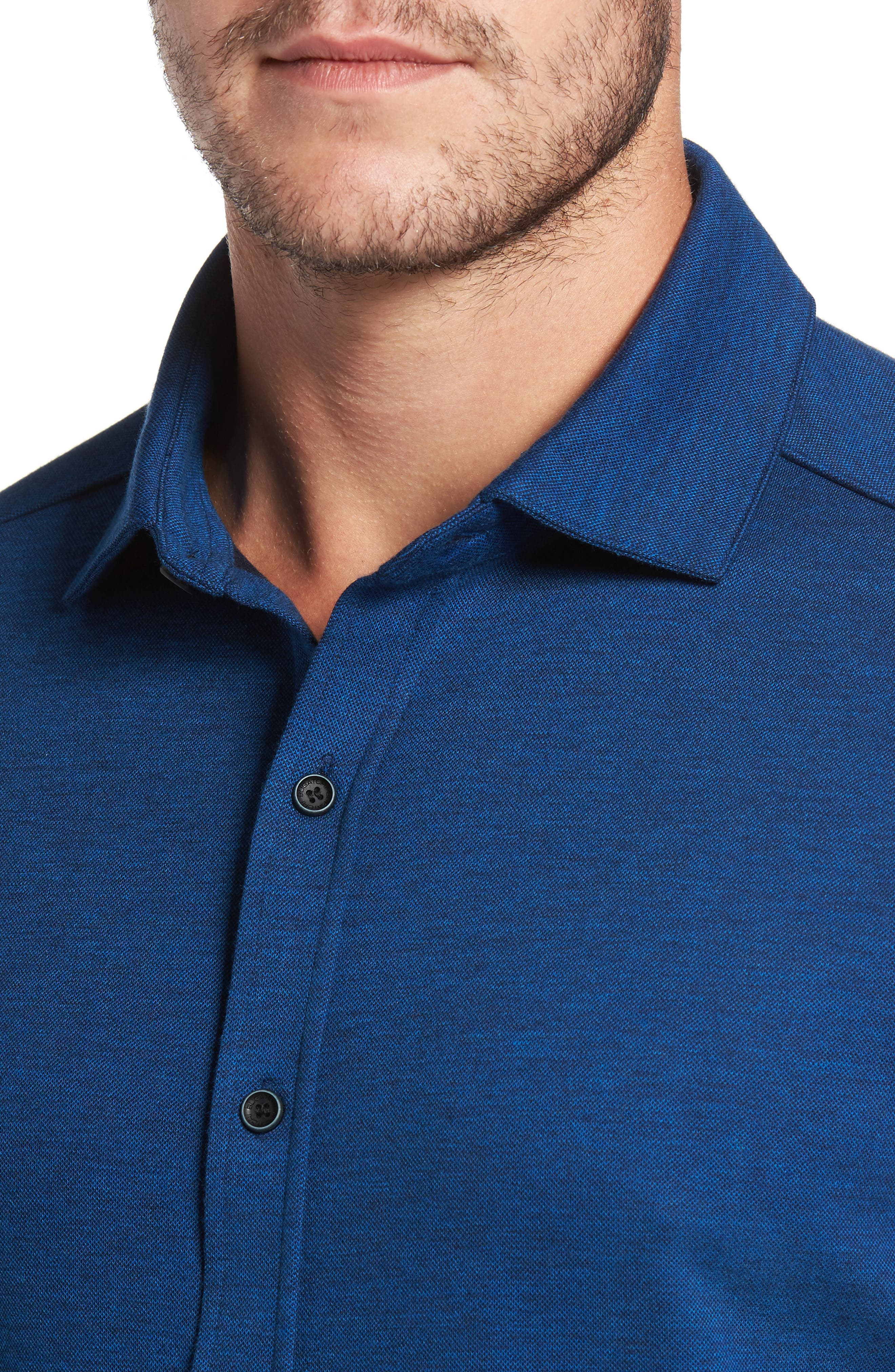 Classic Fit Heathered Knit Sport Shirt,                             Alternate thumbnail 4, color,                             Night Blue