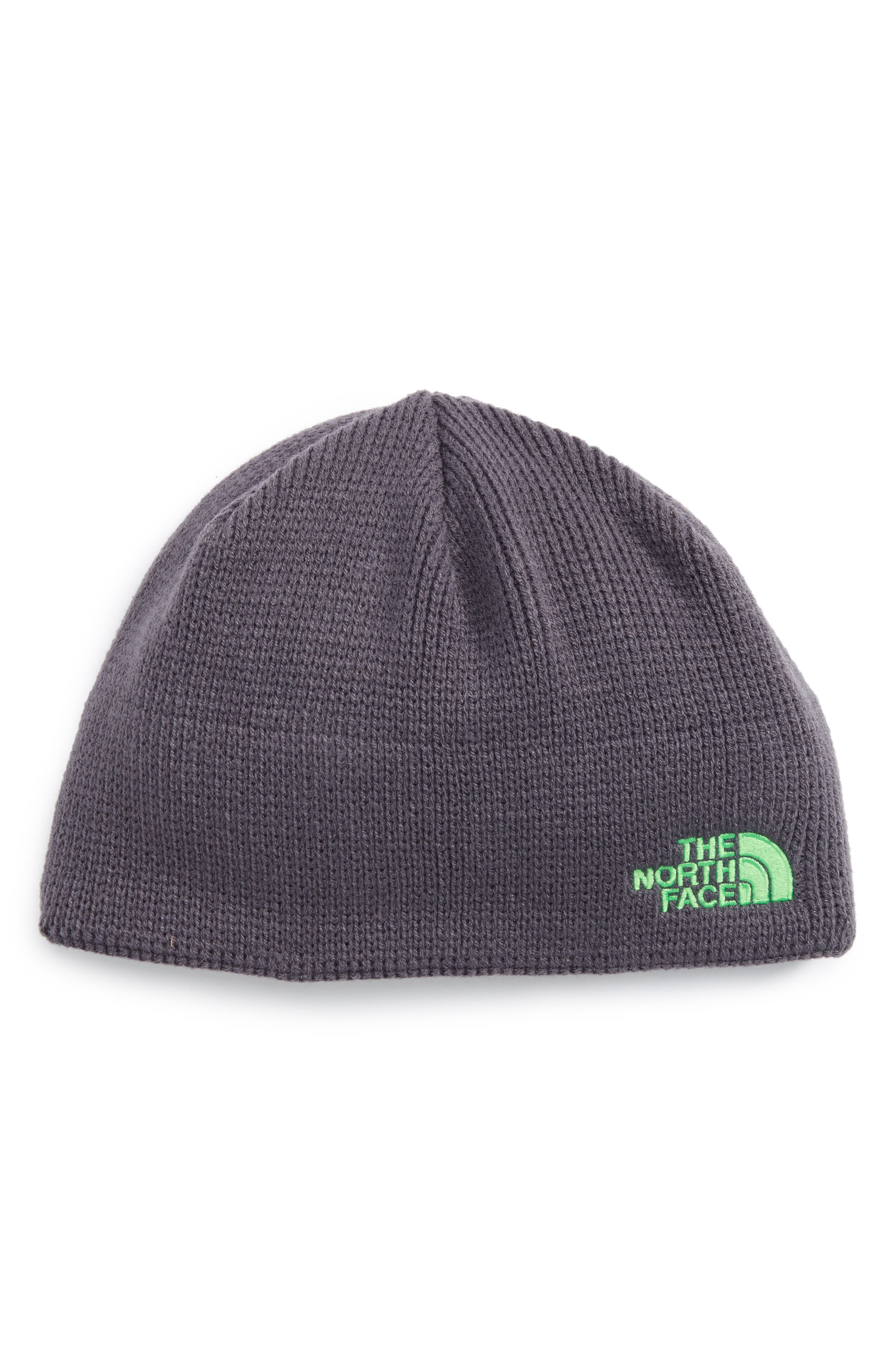 Youth Bones Fleece Lined Beanie,                             Main thumbnail 1, color,                             Graphite Grey/ Krypton Green