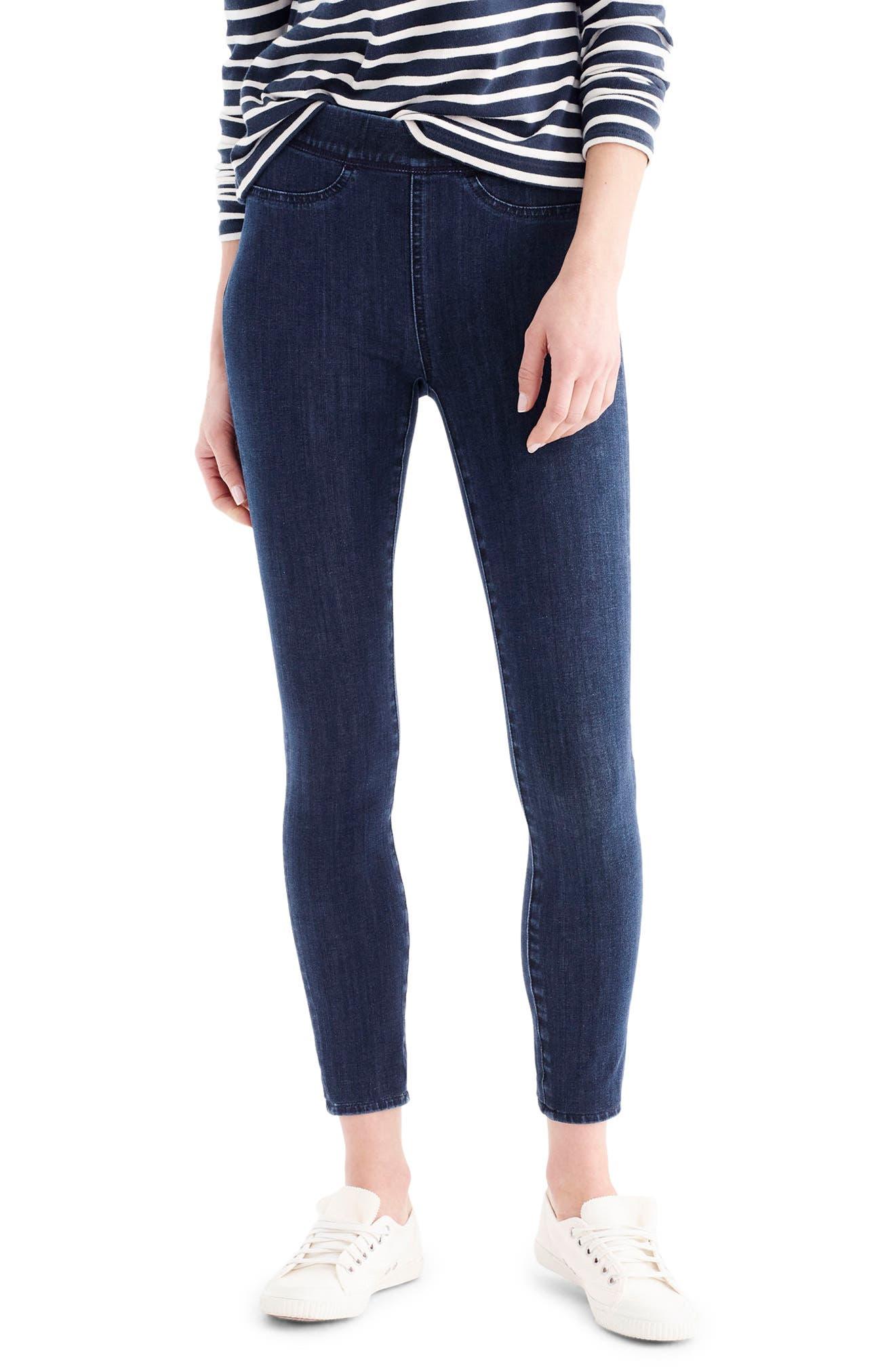 Main Image - J.Crew Pull-On Toothpick Indigo Jeans (Regular & Petite)