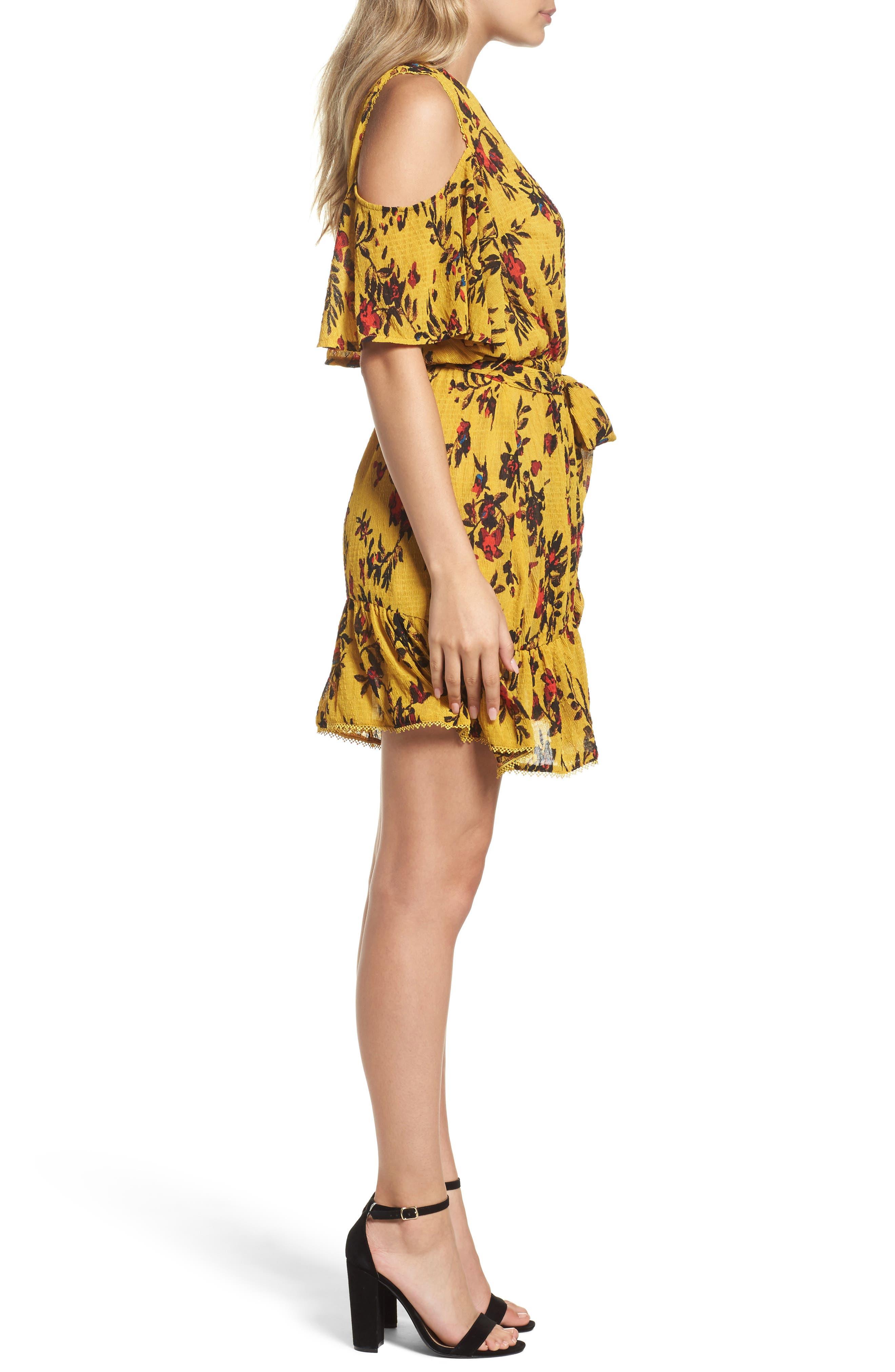 Alternate Image 3  - Foxiedox Windsome Floral Cold Shoulder Wrap Dress