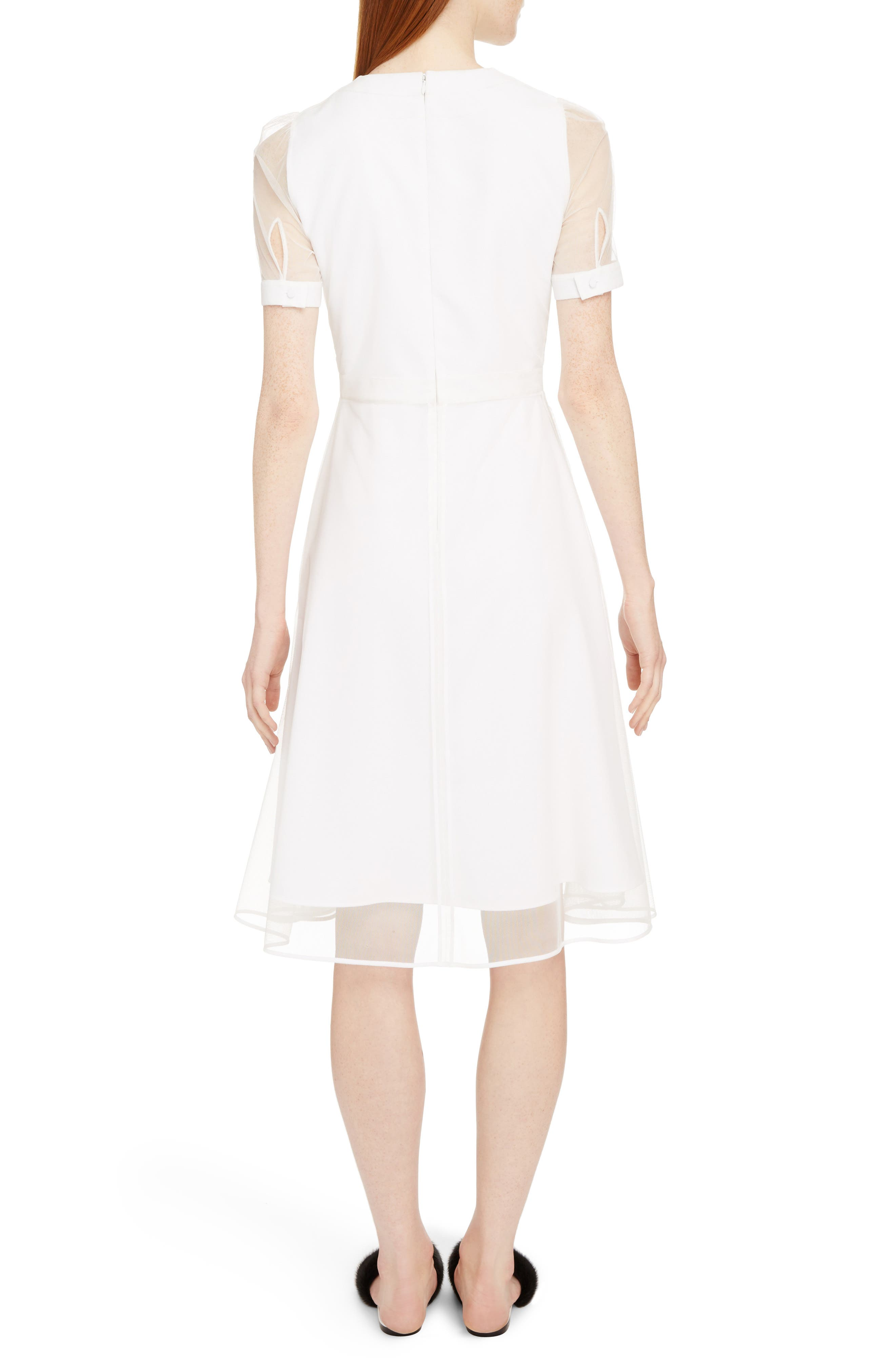 Sheer Overlay Stretch Cady Dress,                             Alternate thumbnail 2, color,                             White