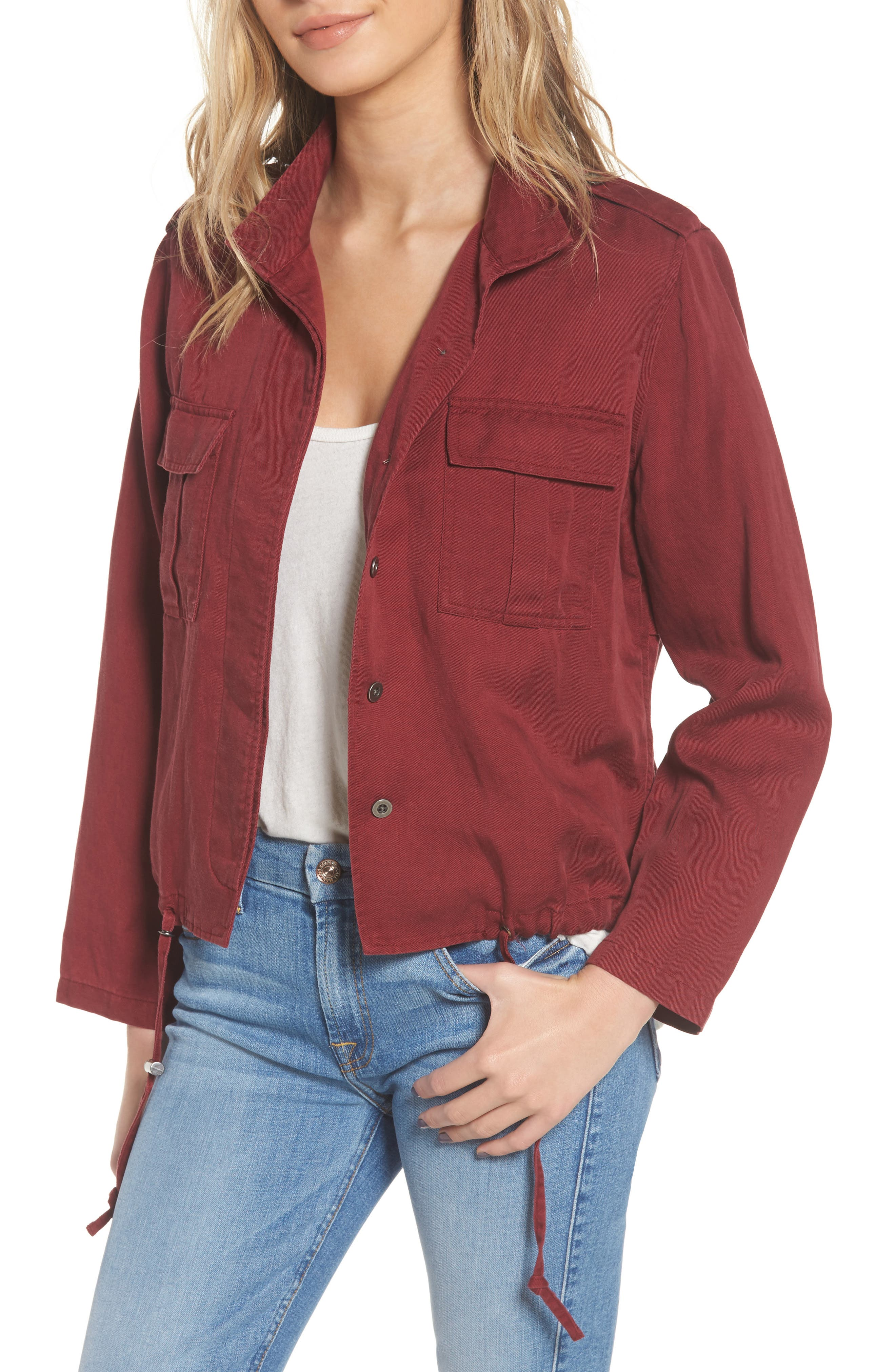 Maverick Military Jacket,                         Main,                         color, Oxblood