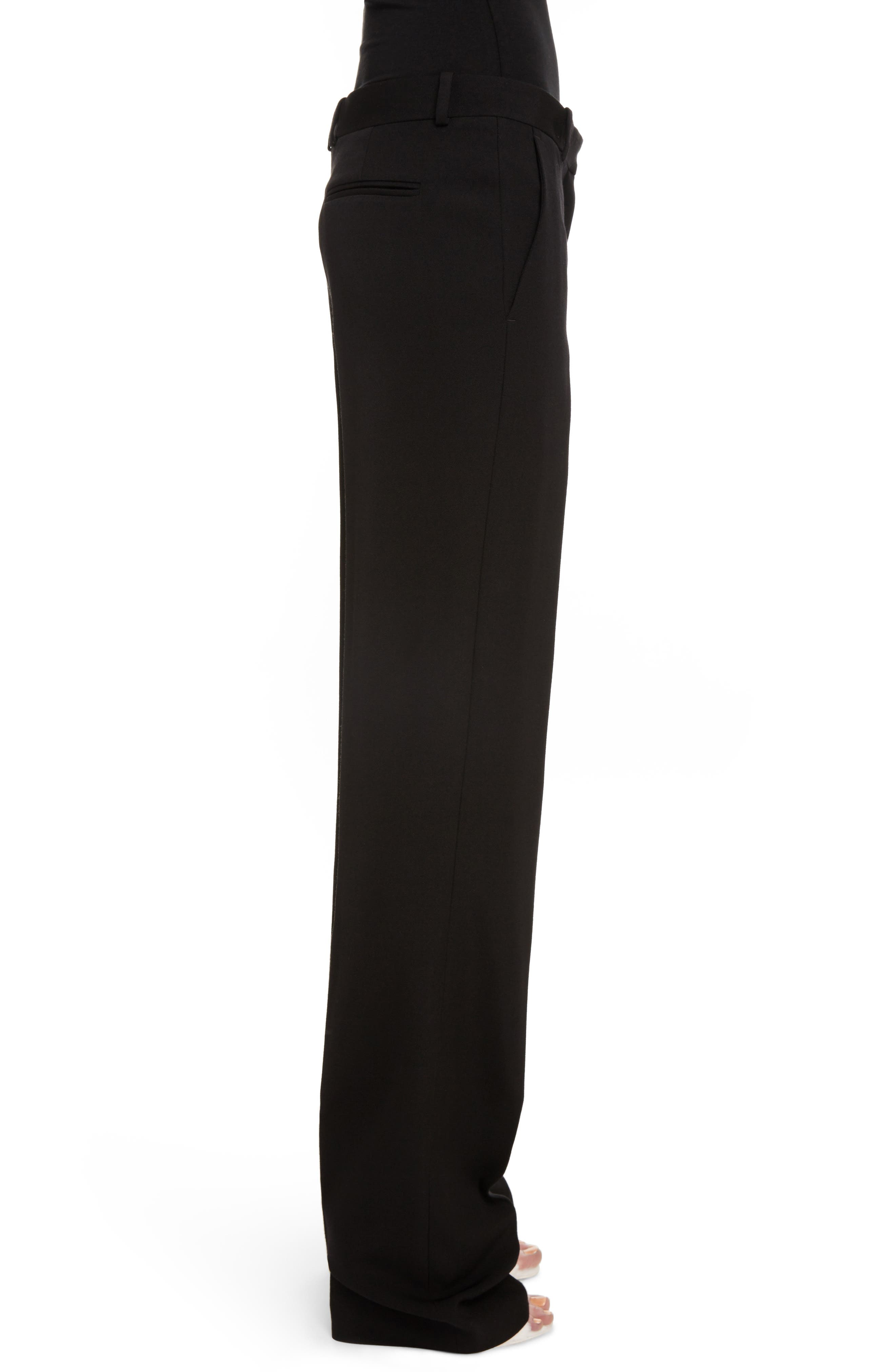Wool Straight Leg Pants,                             Alternate thumbnail 3, color,                             Black