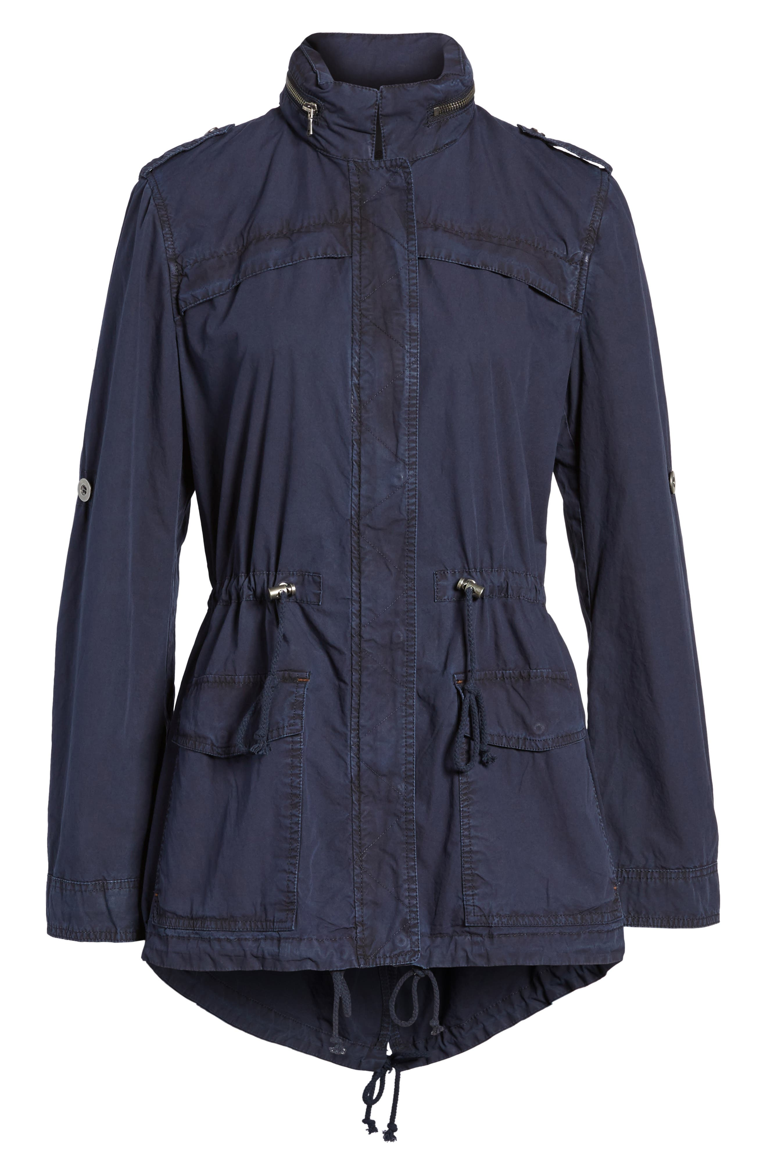 Lightweight Cotton Hooded Utility Jacket,                         Main,                         color, Navy