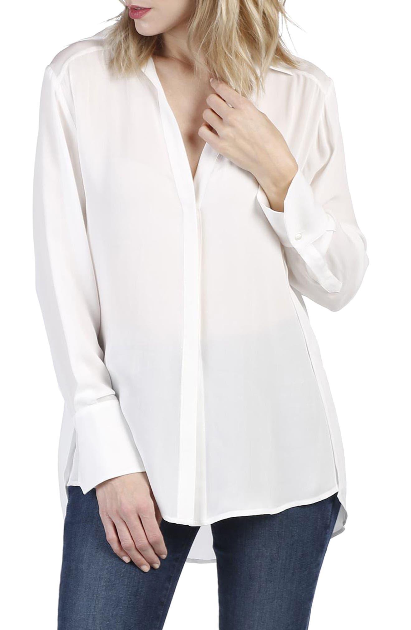 Clemence Silk Shirt,                             Main thumbnail 1, color,                             White