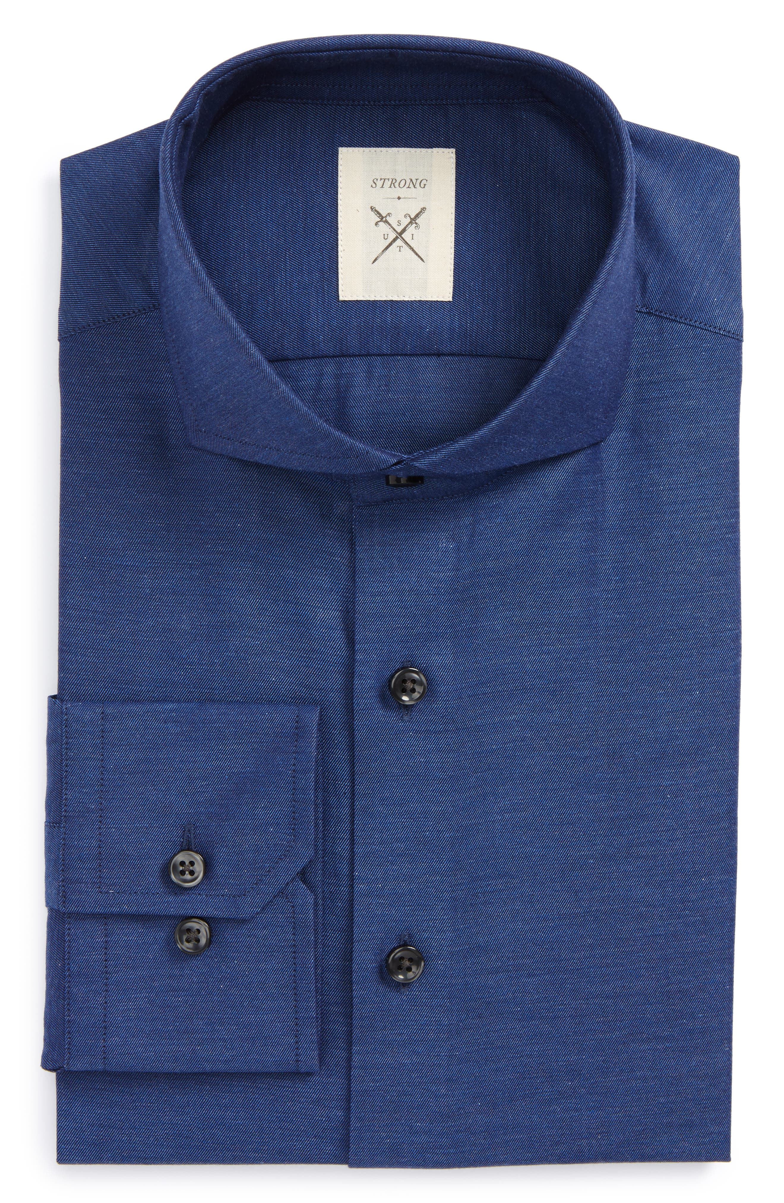 Extra Trim Fit Solid Dress Shirt,                         Main,                         color, Navy