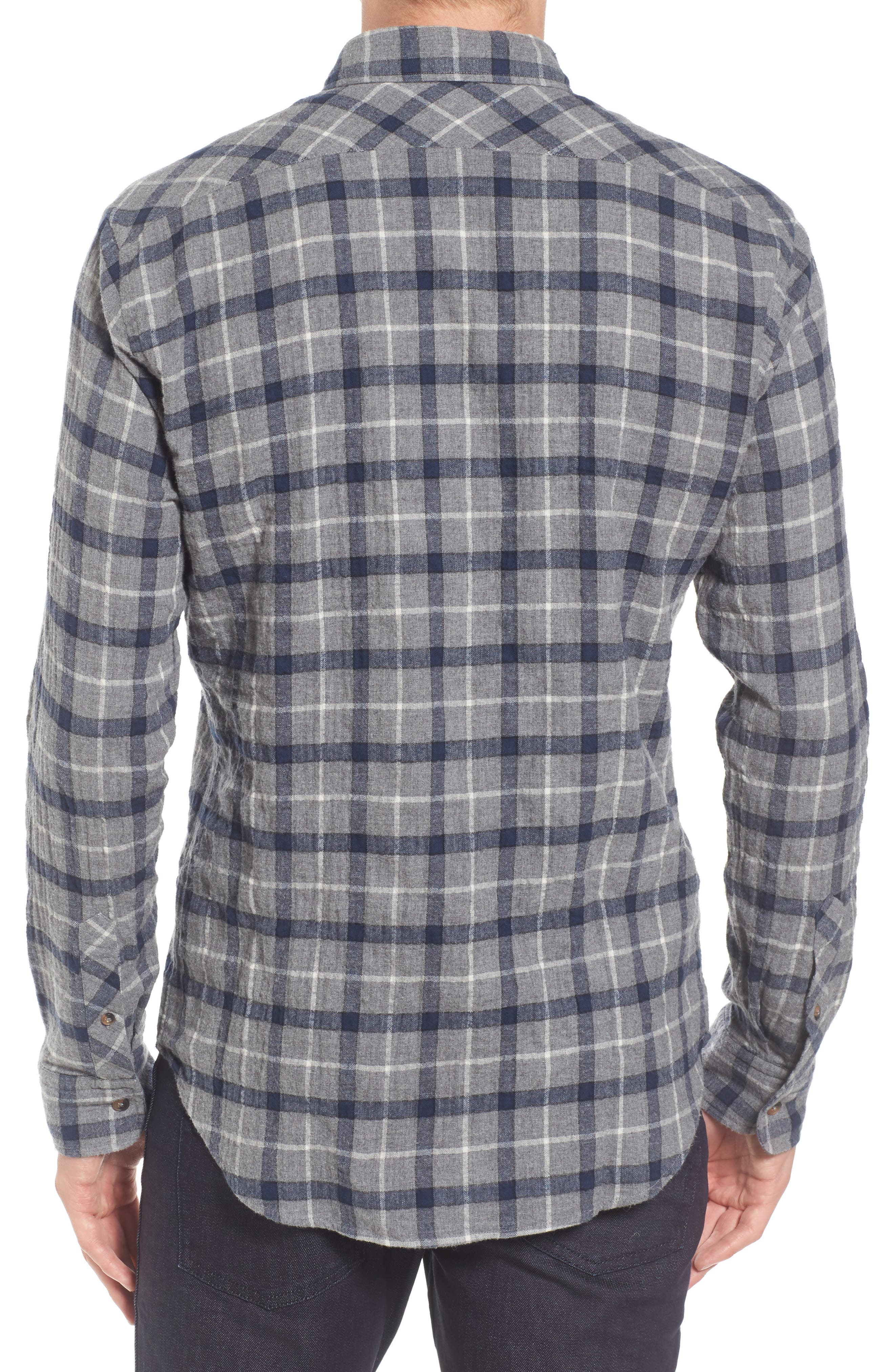 Murphy Slim Fit Plaid Sport Shirt,                             Alternate thumbnail 2, color,                             Grey/ Navy