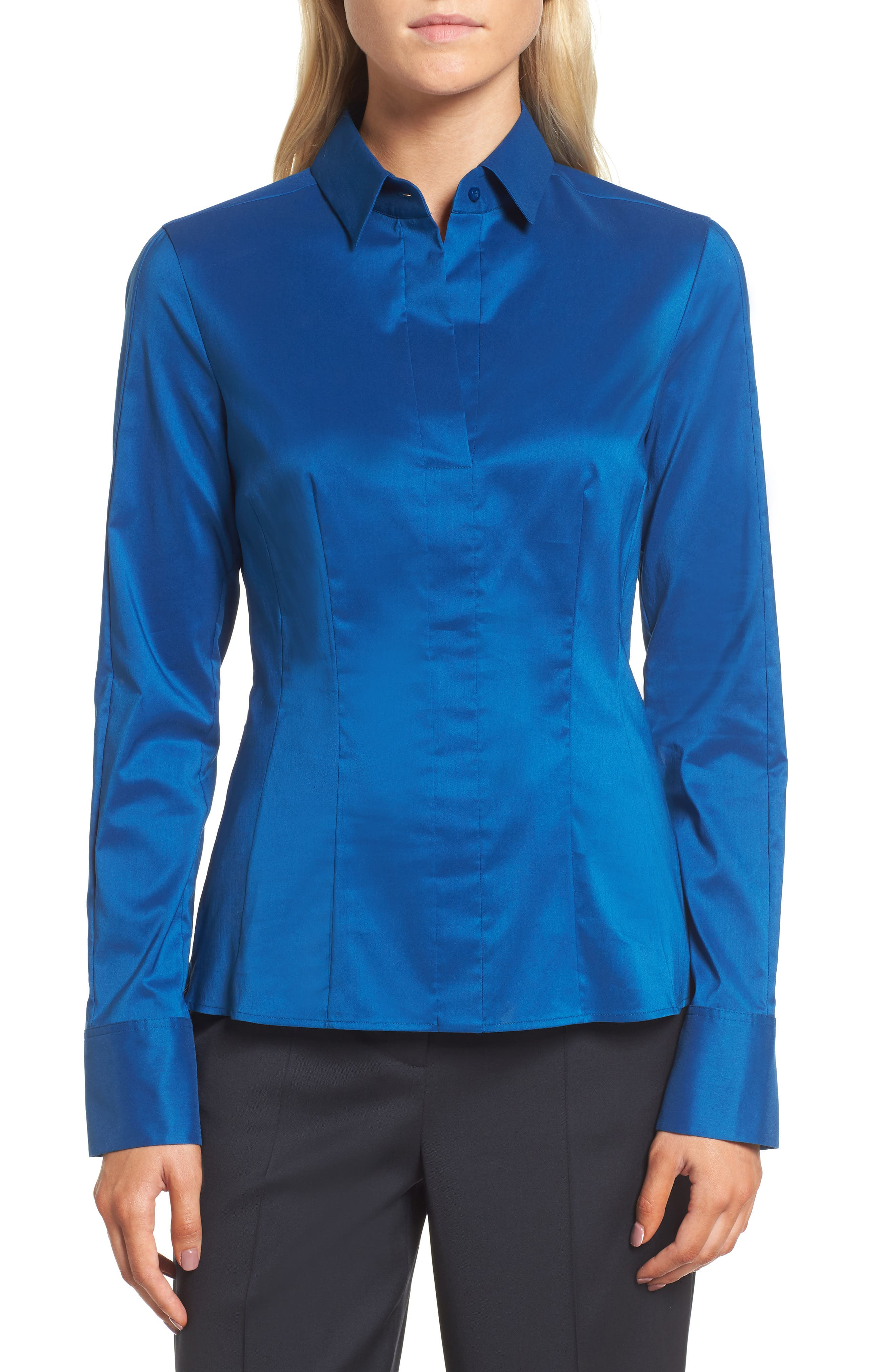 BOSS Bashina Fitted Stretch Poplin Shirt