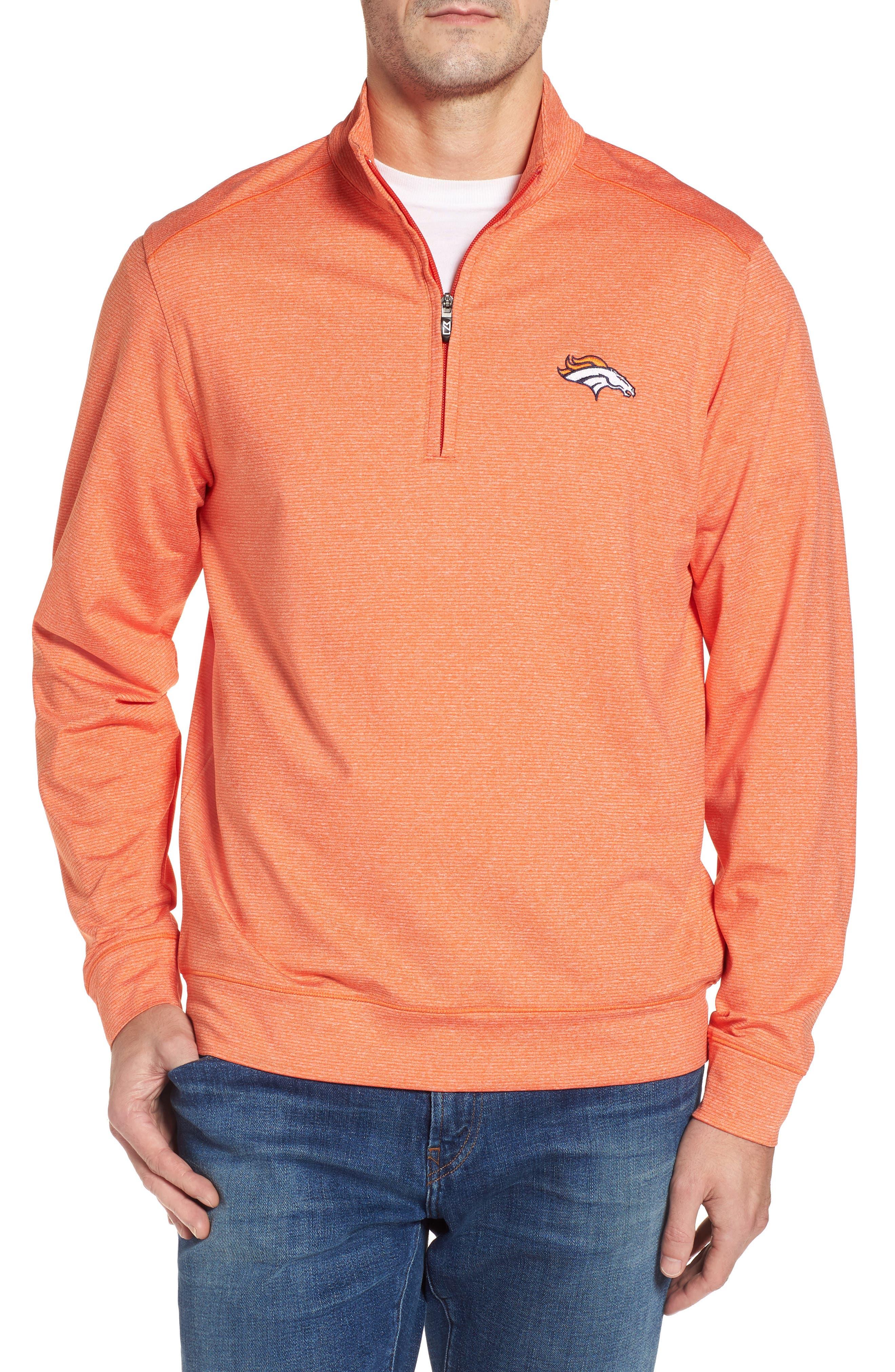 Shoreline - Denver Broncos Half Zip Pullover,                             Main thumbnail 1, color,                             College Orange Heather