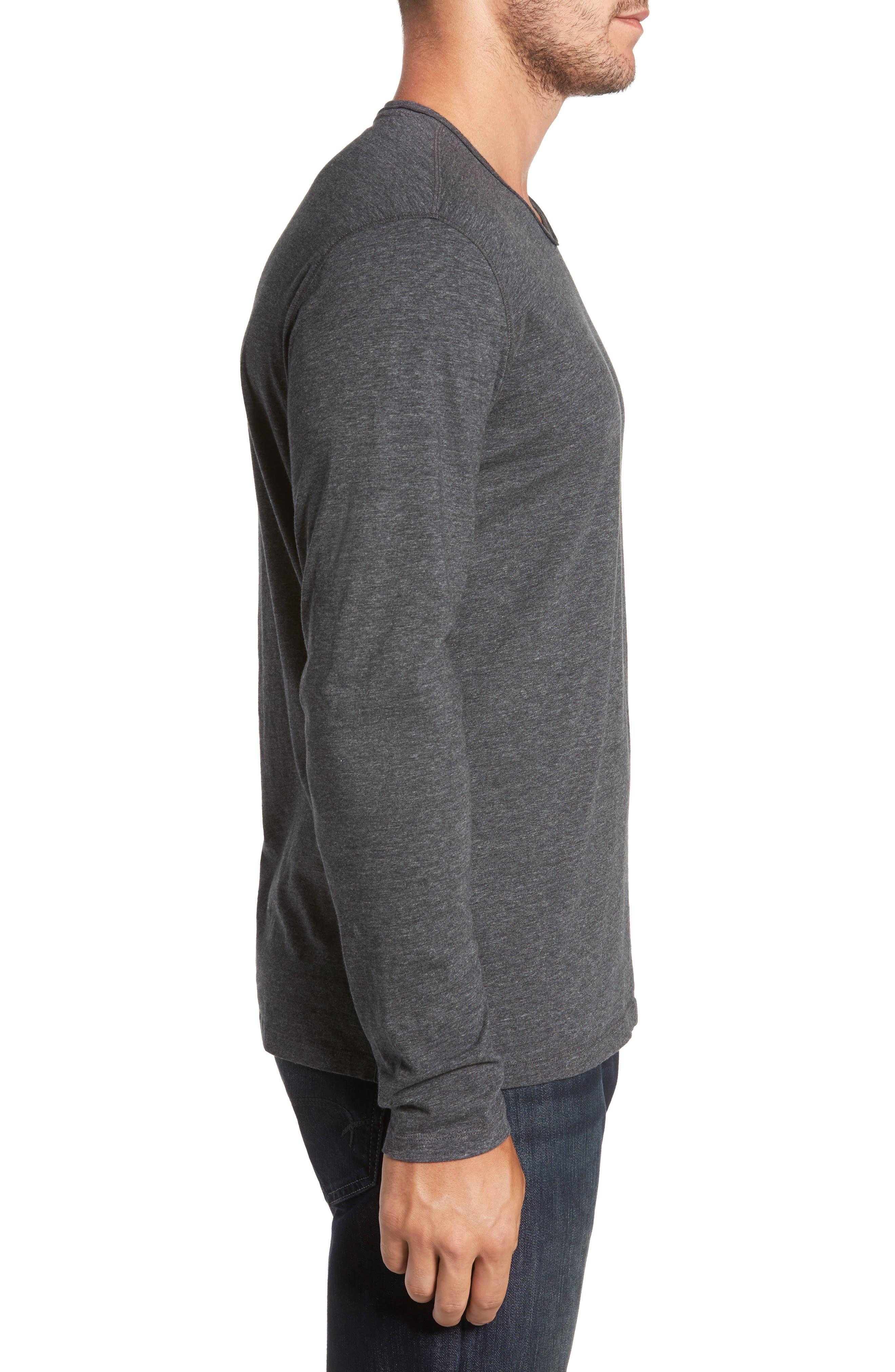 Flynn V-Neck T-Shirt,                             Alternate thumbnail 3, color,                             Charcoal