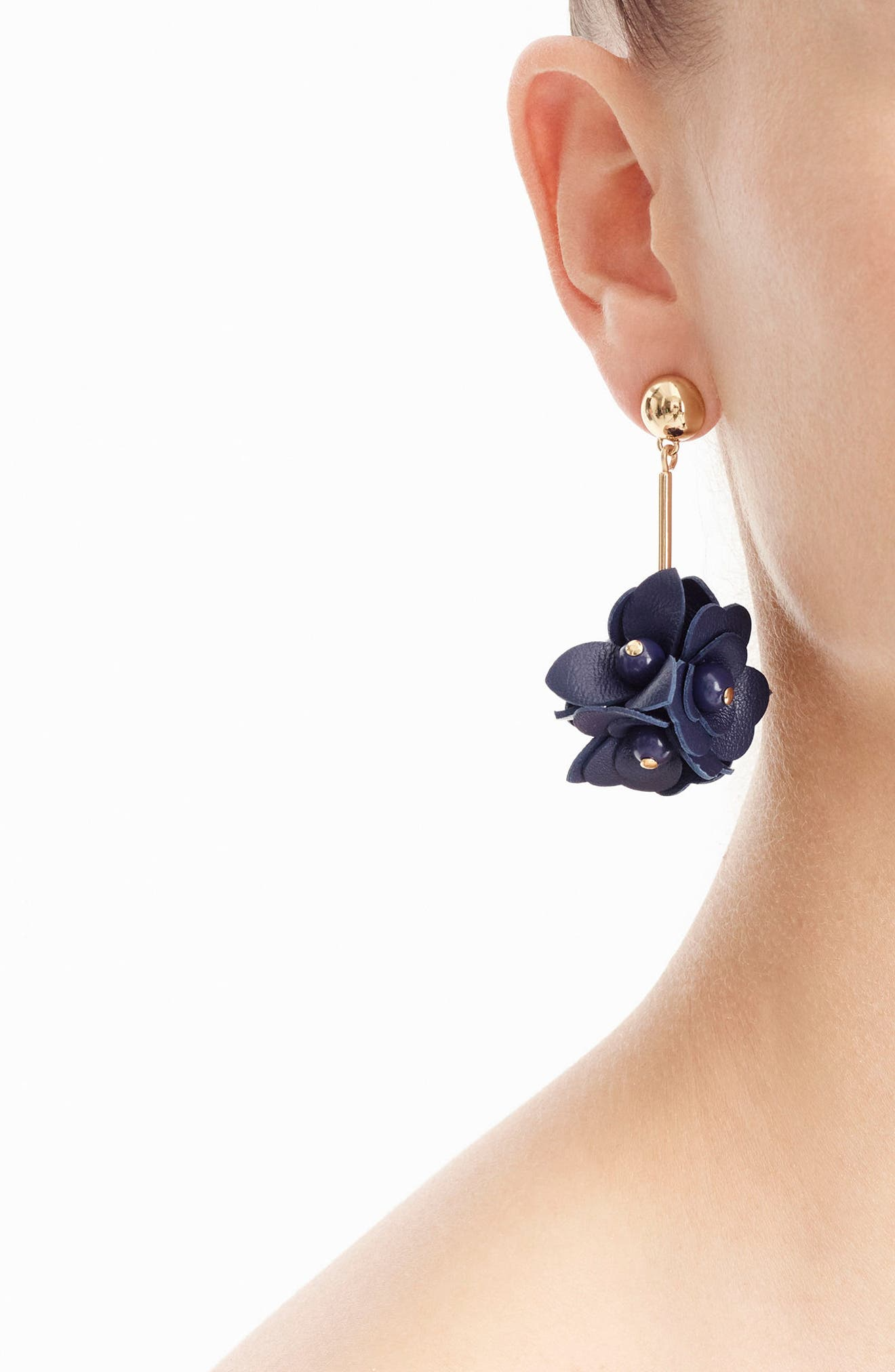 Beaded Bloom Earrings,                             Alternate thumbnail 2, color,                             Navy