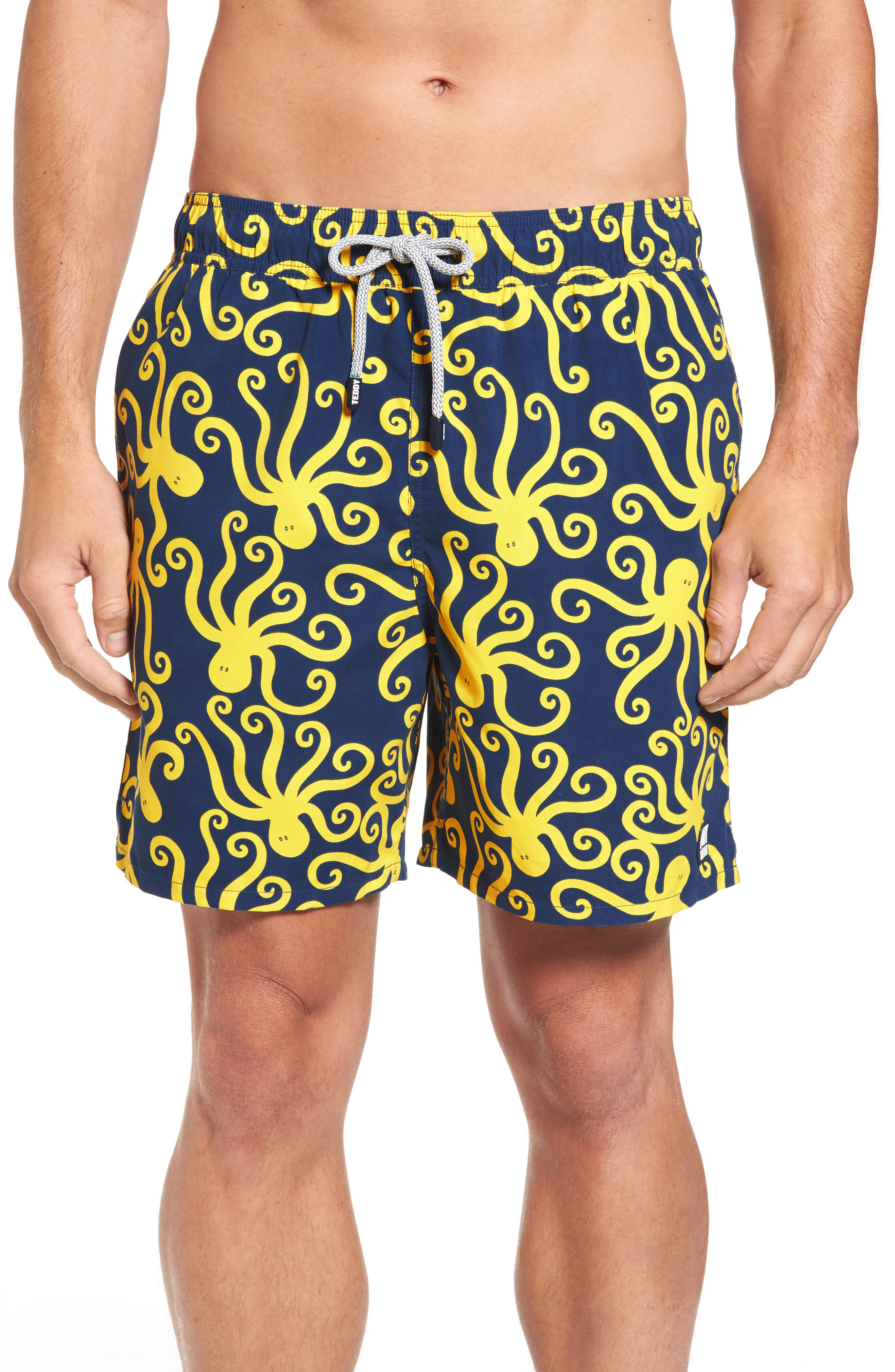 Octopus Swim Trunks,                         Main,                         color, Blue Yellow