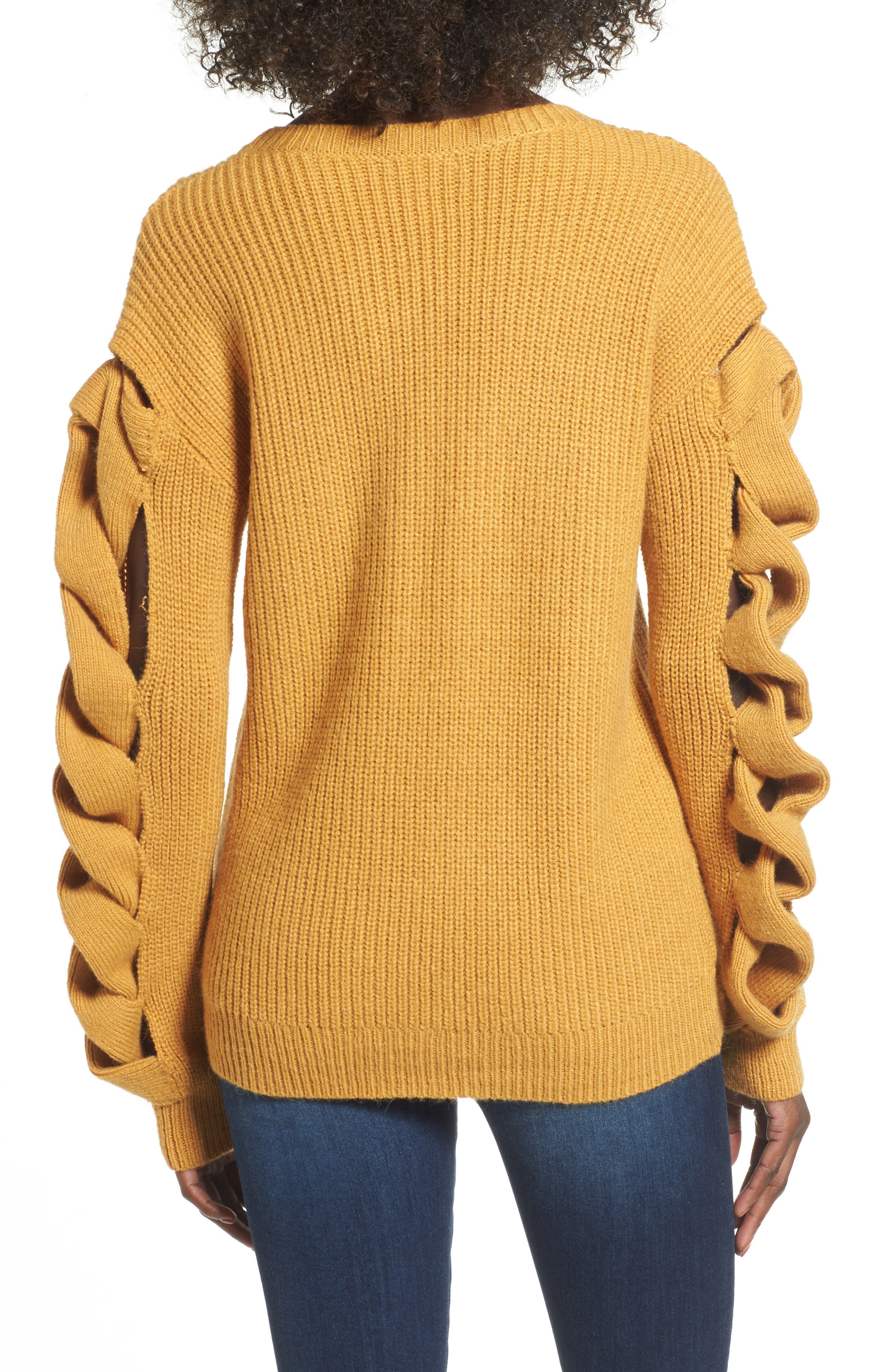 Twist Sleeve Sweater,                             Alternate thumbnail 2, color,                             Yellow Spruce