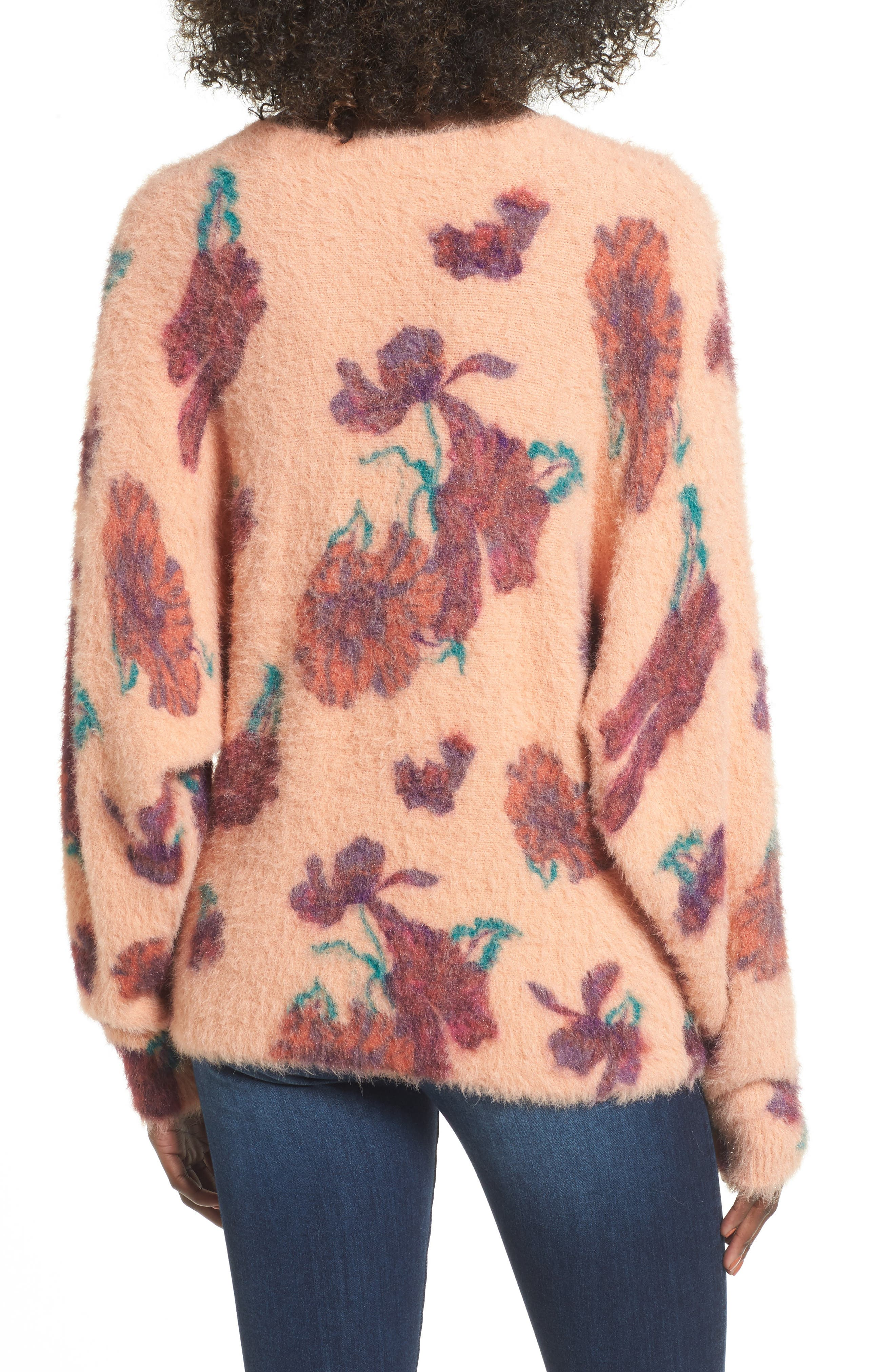 Fluffy Pullover,                             Alternate thumbnail 2, color,                             Coral Muted Expressive Floral