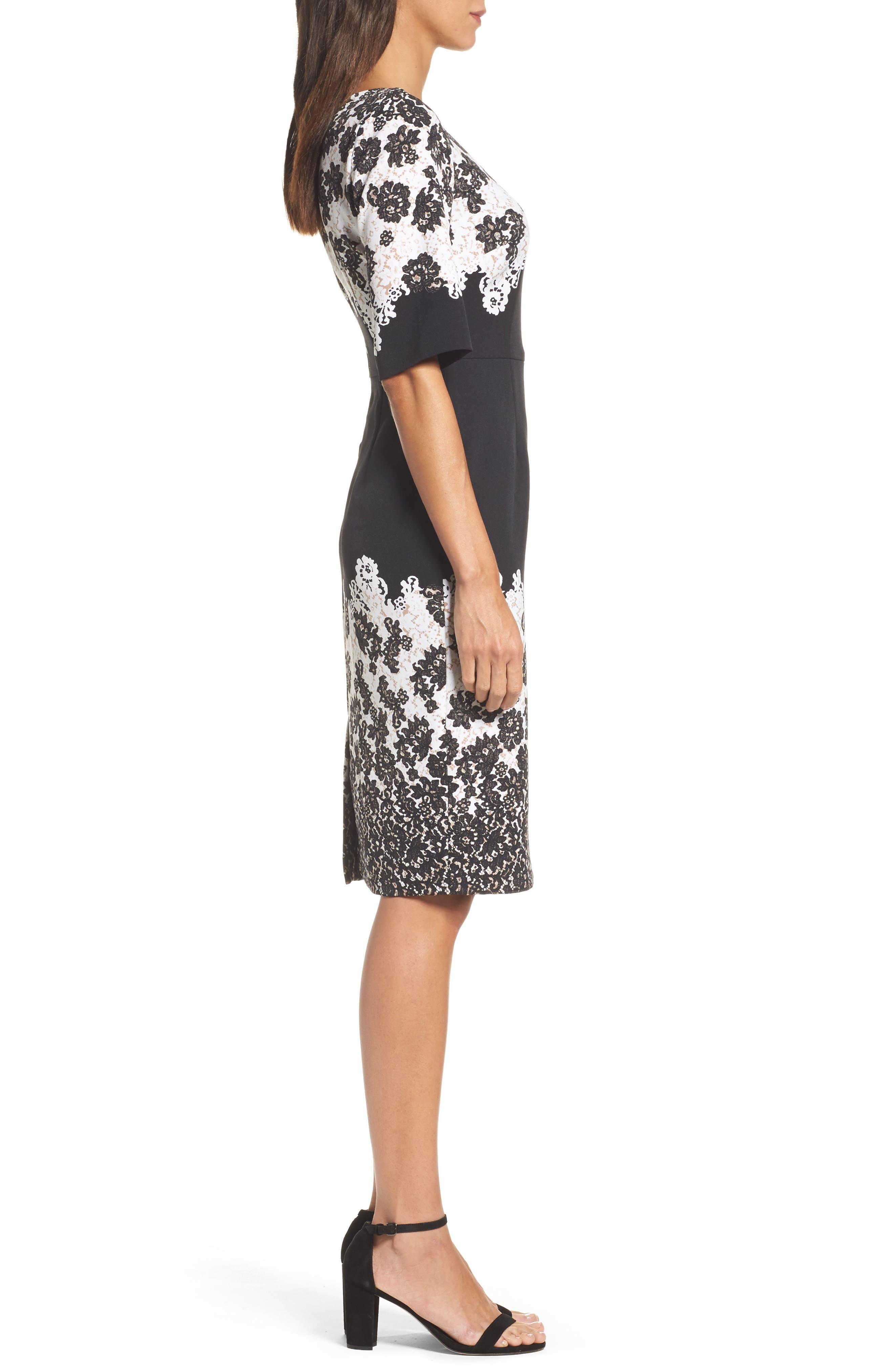 Print Sheath Dress,                             Alternate thumbnail 3, color,                             Black Multi
