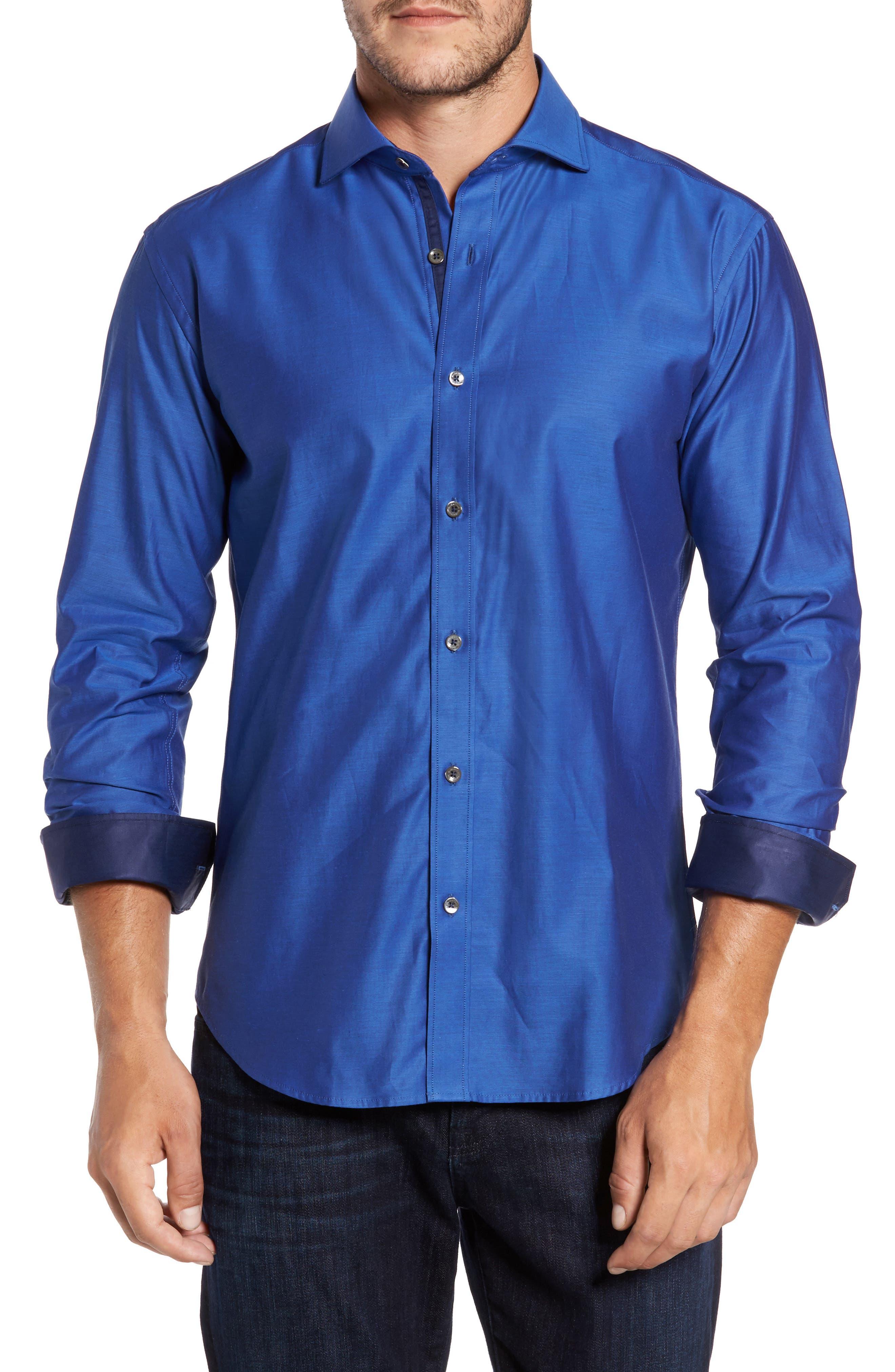Trim Fit Solid Sport Shirt,                         Main,                         color, Classic Blue