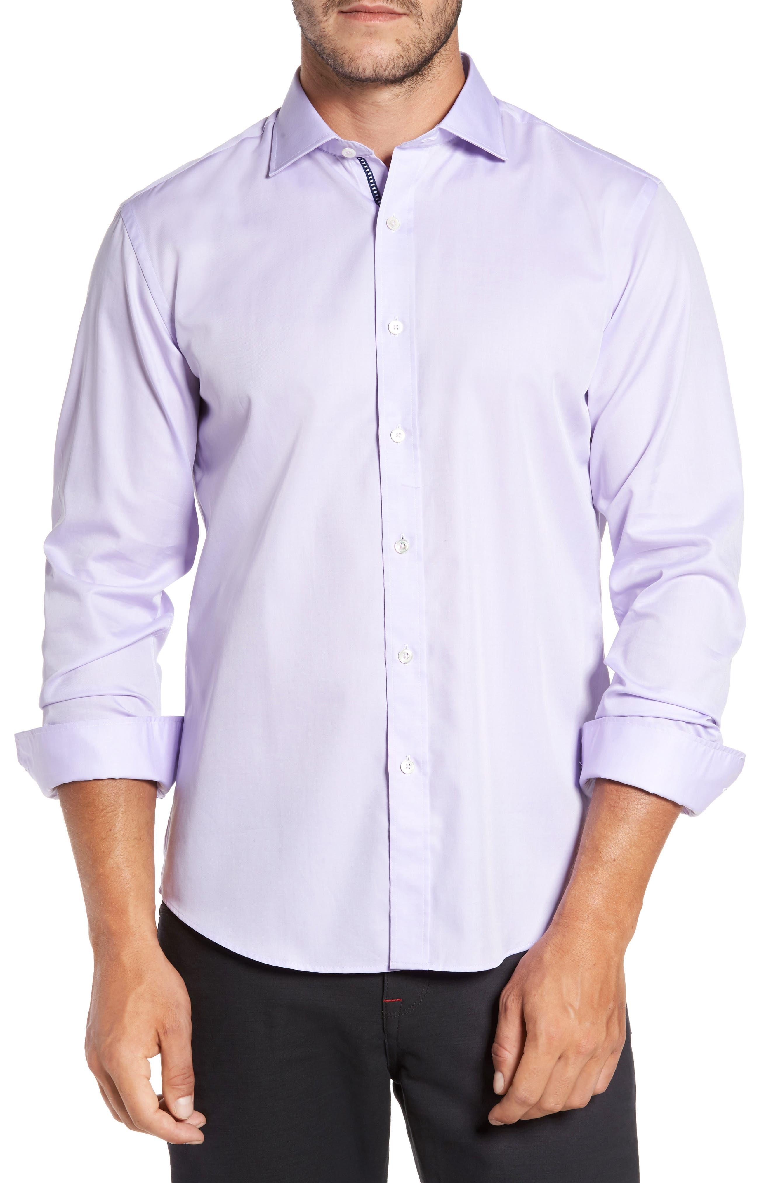 Trim Fit Solid Pastel Sport Shirt,                         Main,                         color, Lavender