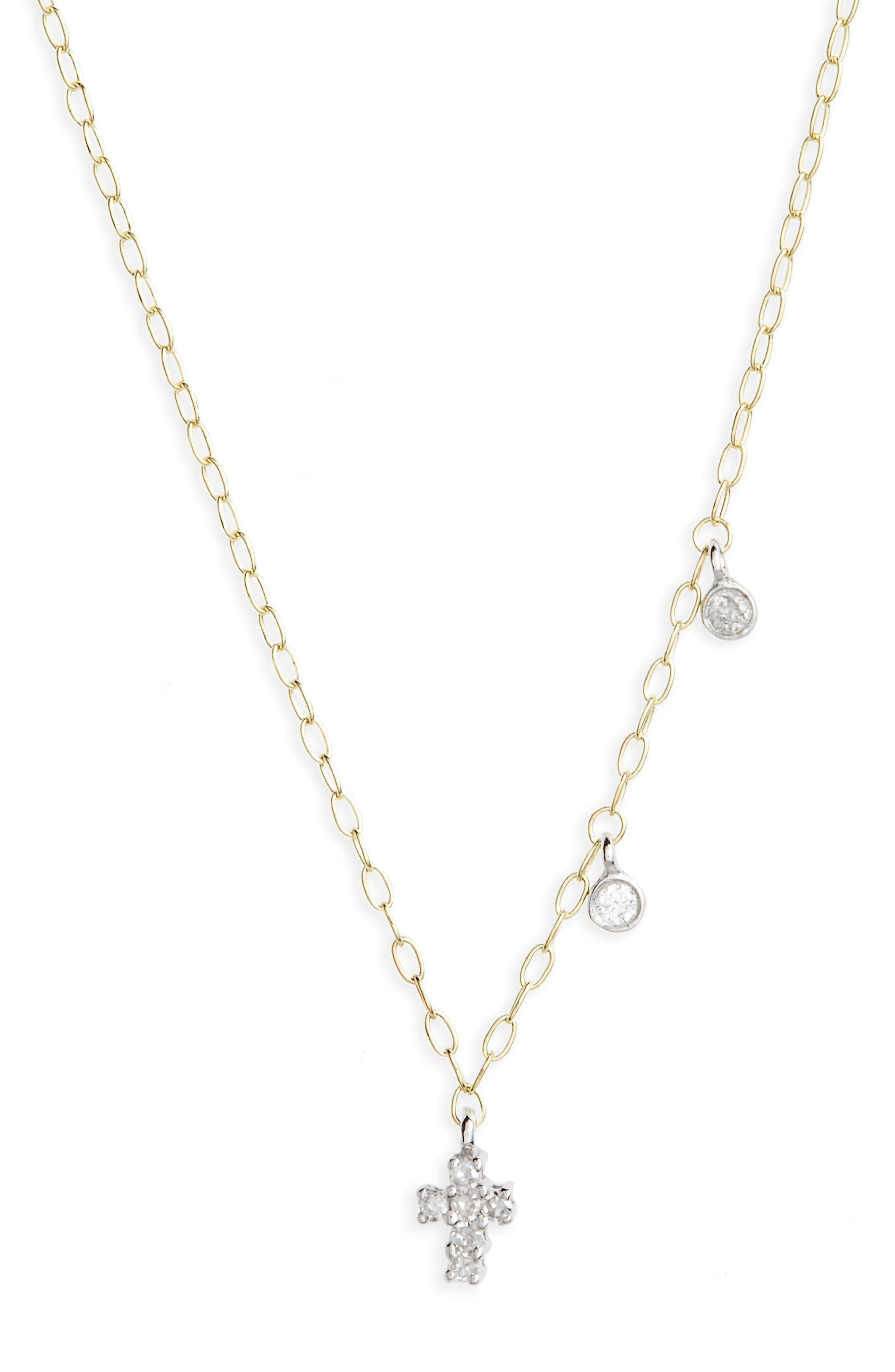 Diamond Cross Pendant Necklace,                         Main,                         color, Yellow Gold/ White Gold