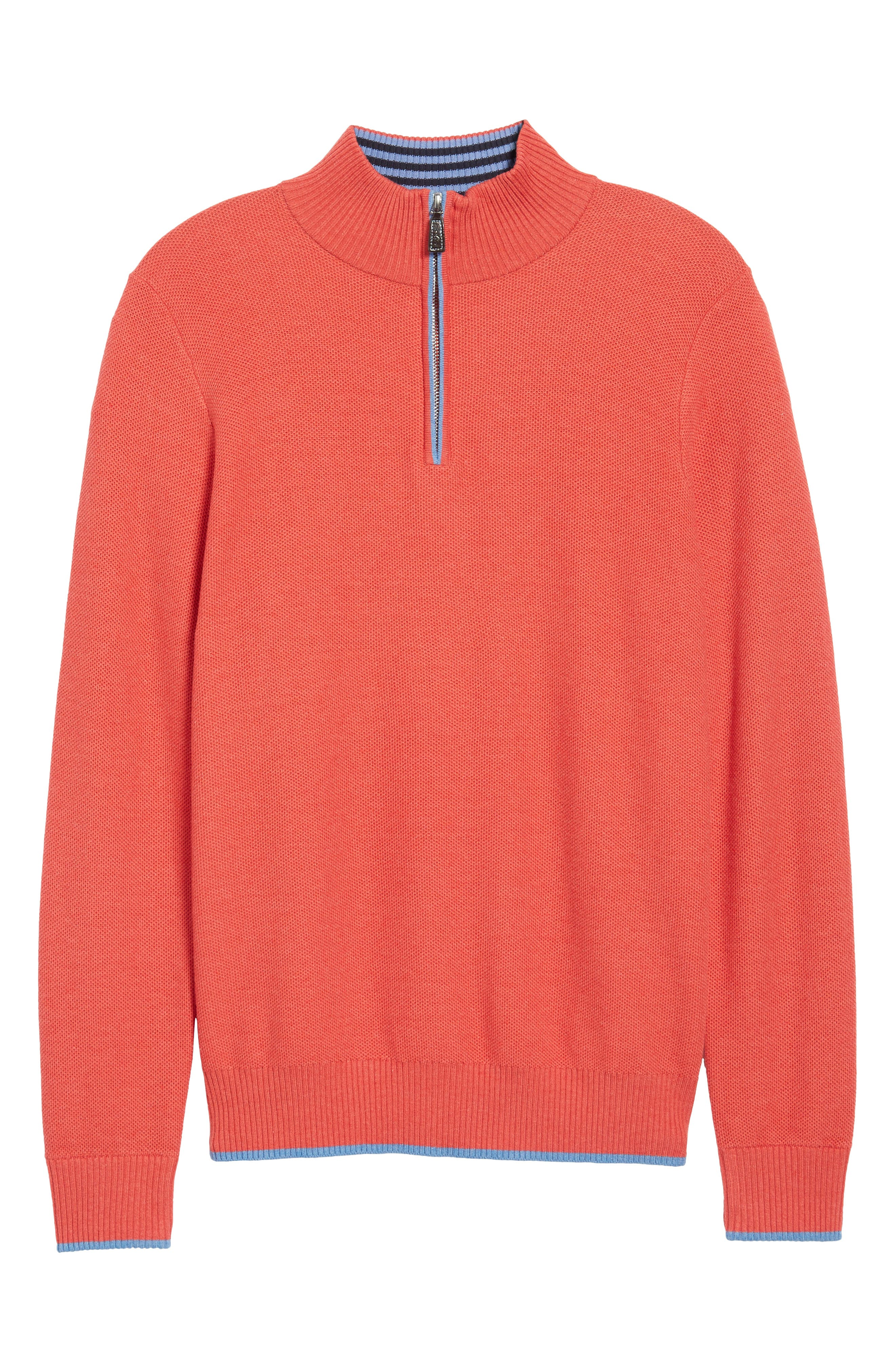 Sorrel Tipped Quarter Zip Sweater,                             Alternate thumbnail 6, color,                             Coral