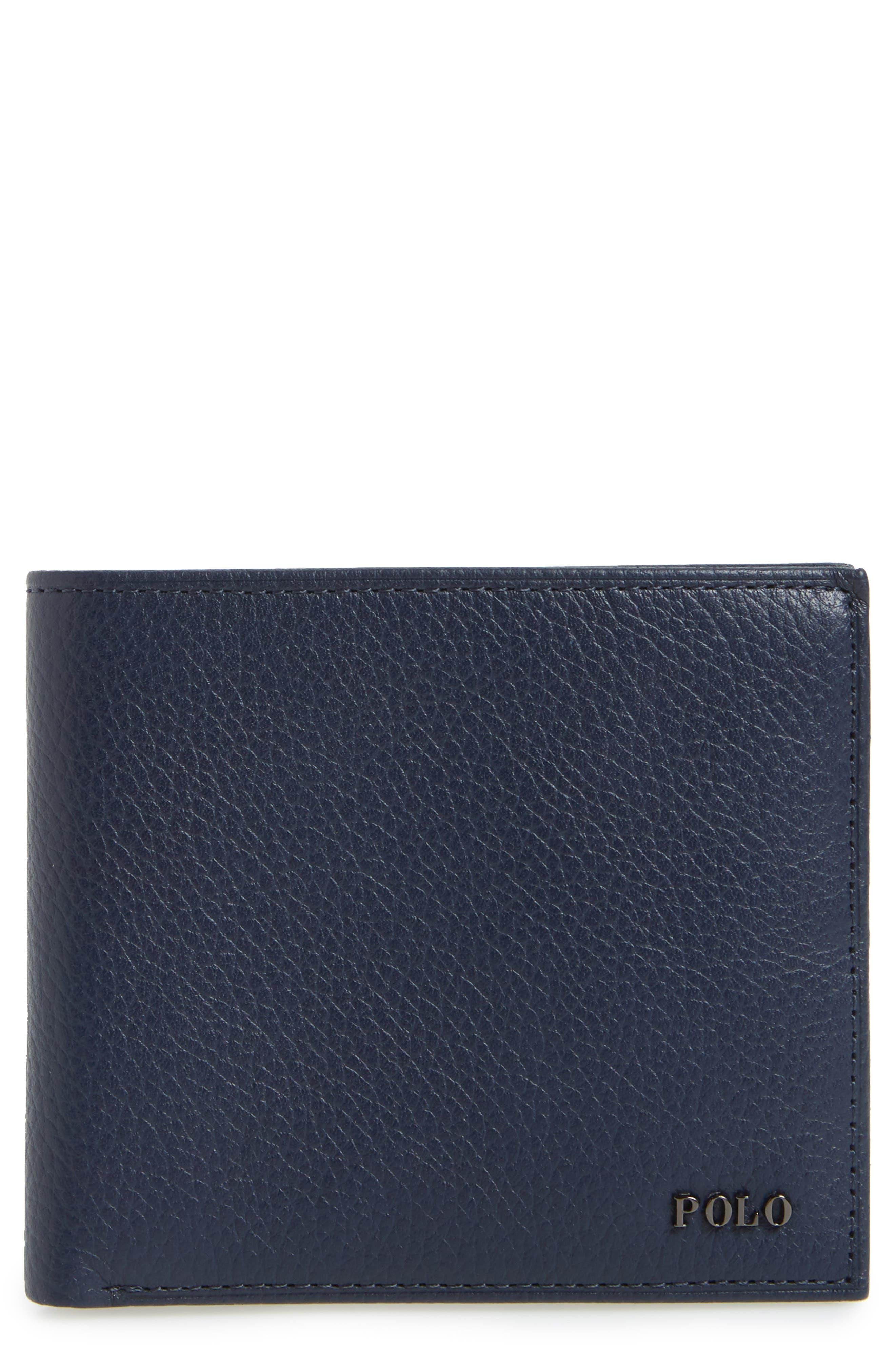 Leather Wallet,                         Main,                         color, Blue
